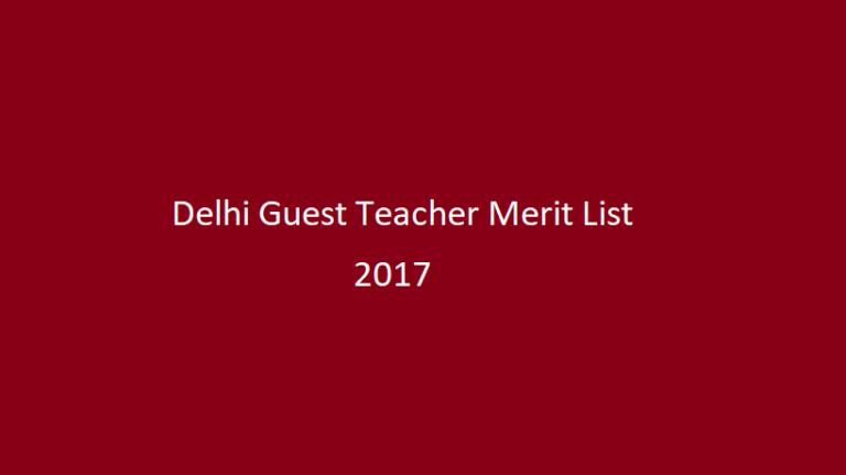 Delhi Guest Teacher Merit List