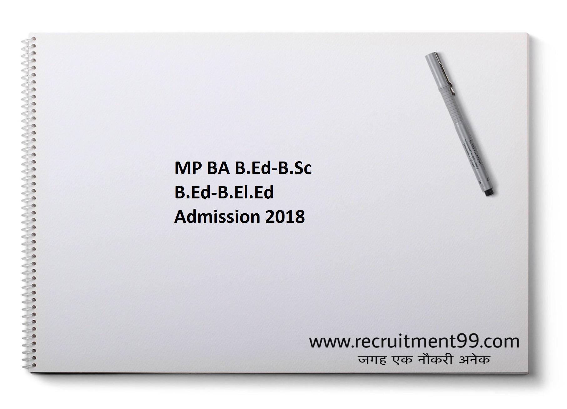 MP BA B.Ed-B.Sc B.Ed-B.El.Ed Admission 2018