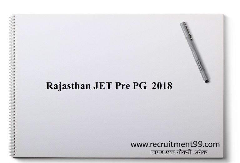 Rajasthan JET Pre PG 2018