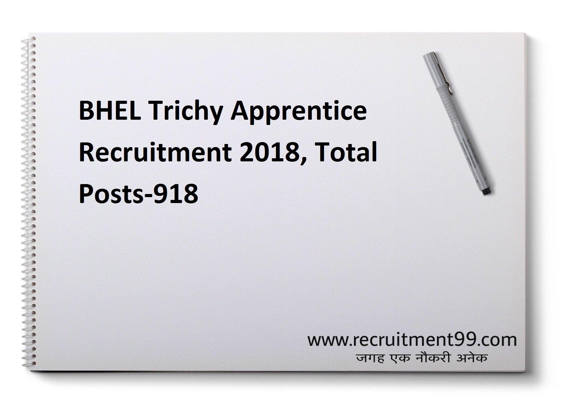 BHEL Tiruchirappalli Trade Apprentice Recruitment 2018