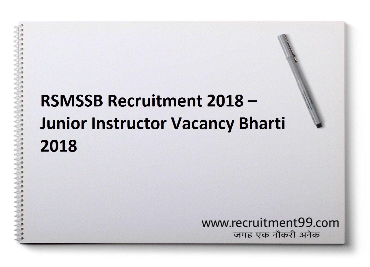 RSMSSB Junior Instructor Recruitment Admit Card Result 2018