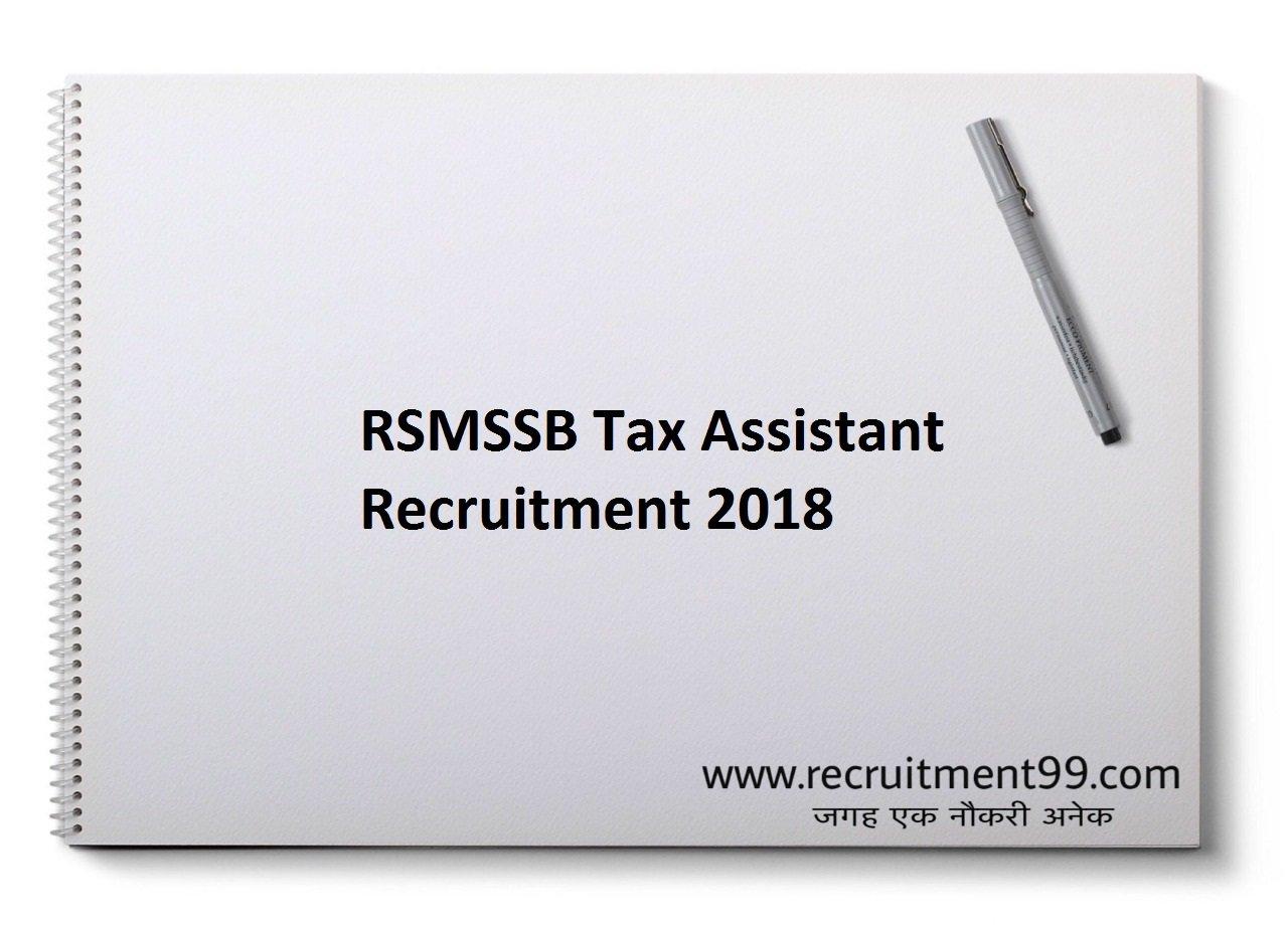RSMSSB Tax Assistant (TA) Recruitment Admit Card Result 2018
