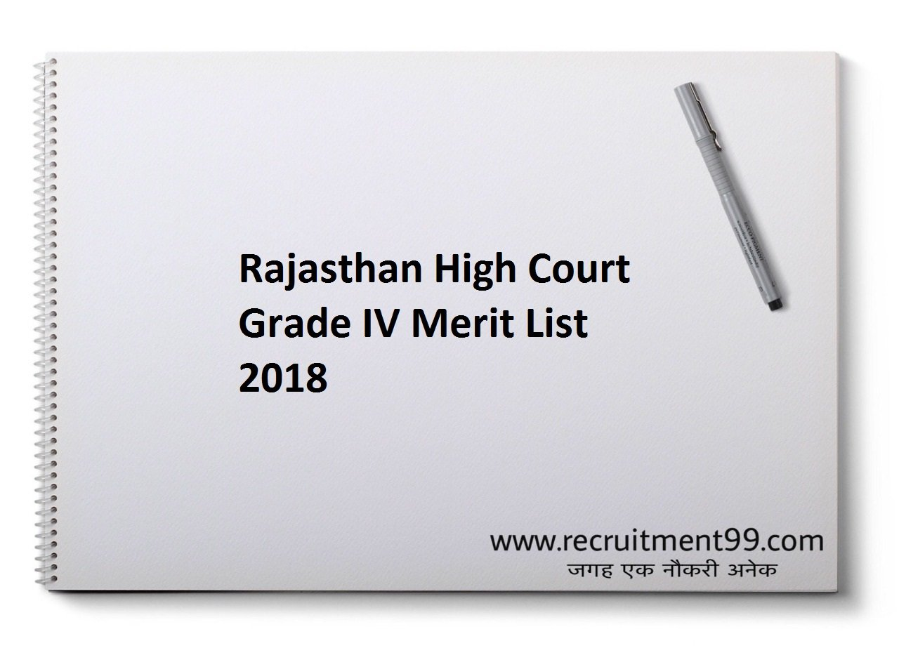 Rajasthan High Court Grade IV Merit List 2018
