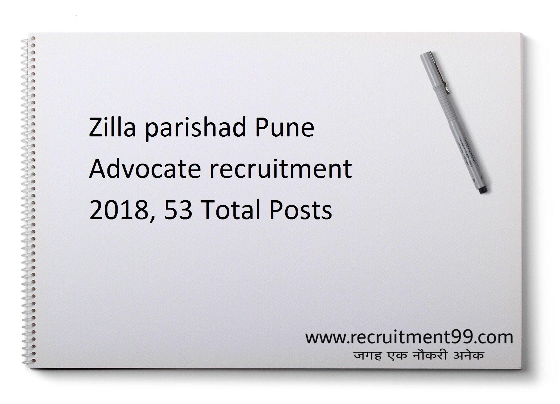 Zilla Parishad Pune Recruitment 2018 - Advocate 53 Posts