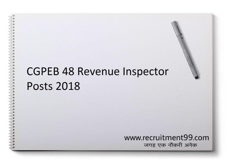 CGPEB Recruitment 2018 - 48 Revenue Inspector Apply online