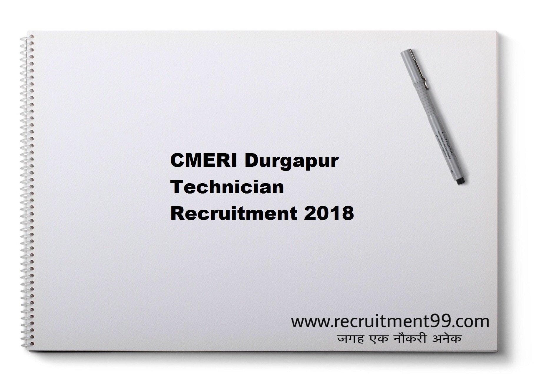 CMERI Durgapur Technician Recruitment Admit Card Result 2018