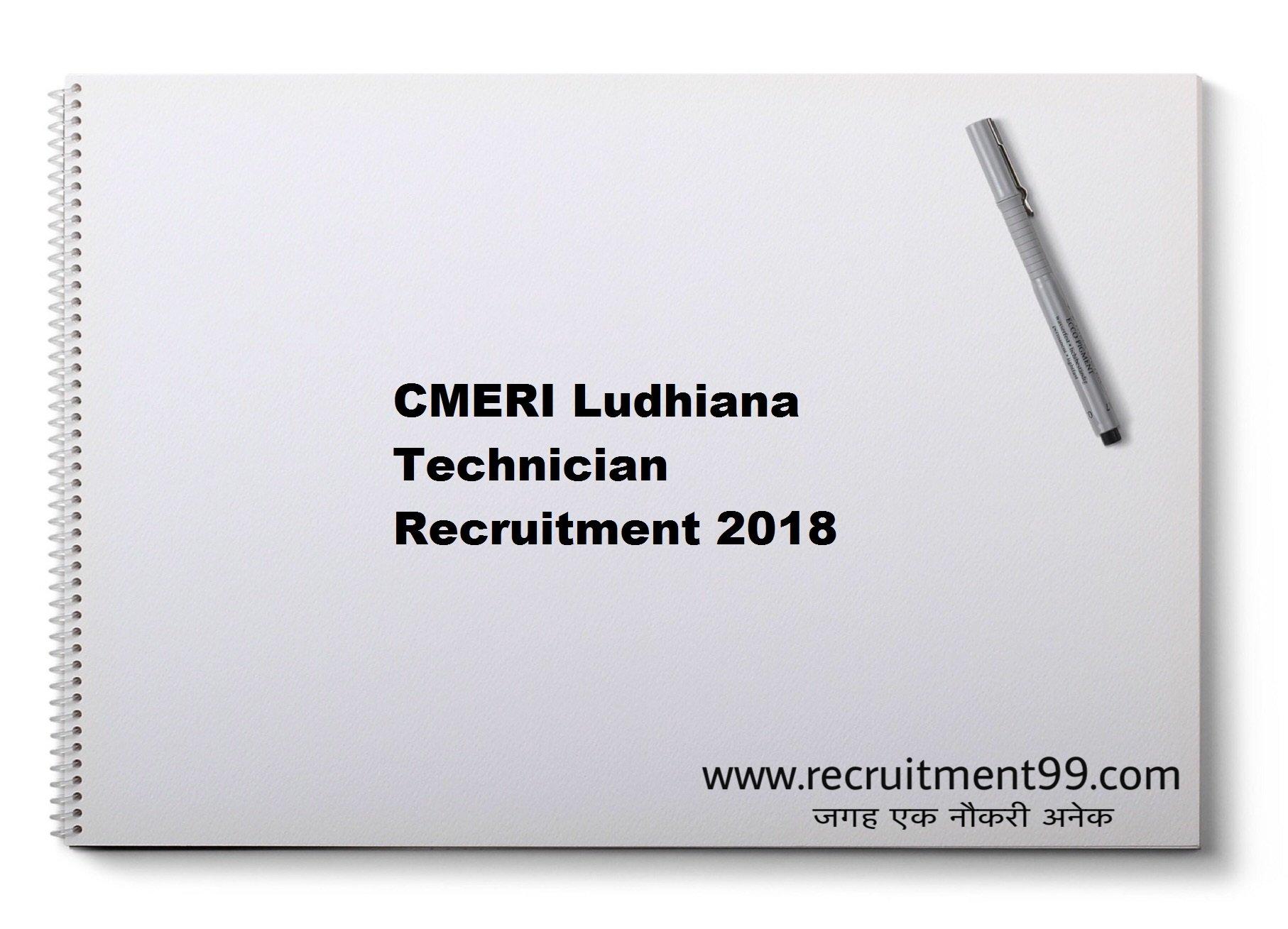 CMERI Ludhiana Technician Recruitment Admit Card Result 2018