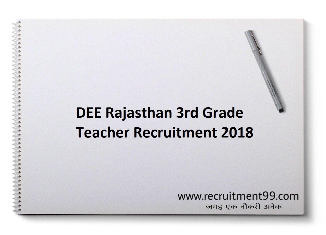 Rajasthan DEE 3rd Grade Teacher Recruitment, Admit Card & Result 2018