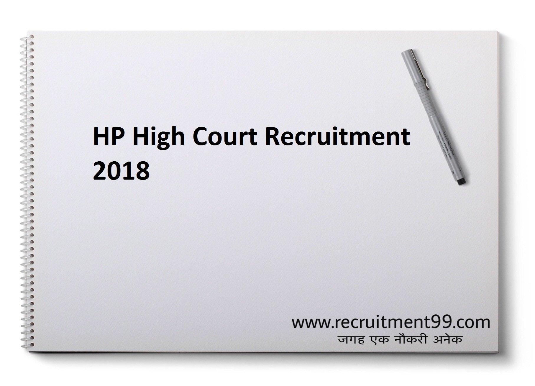 HP High Court Stenographer Recruitment Admit Card & Result 2018