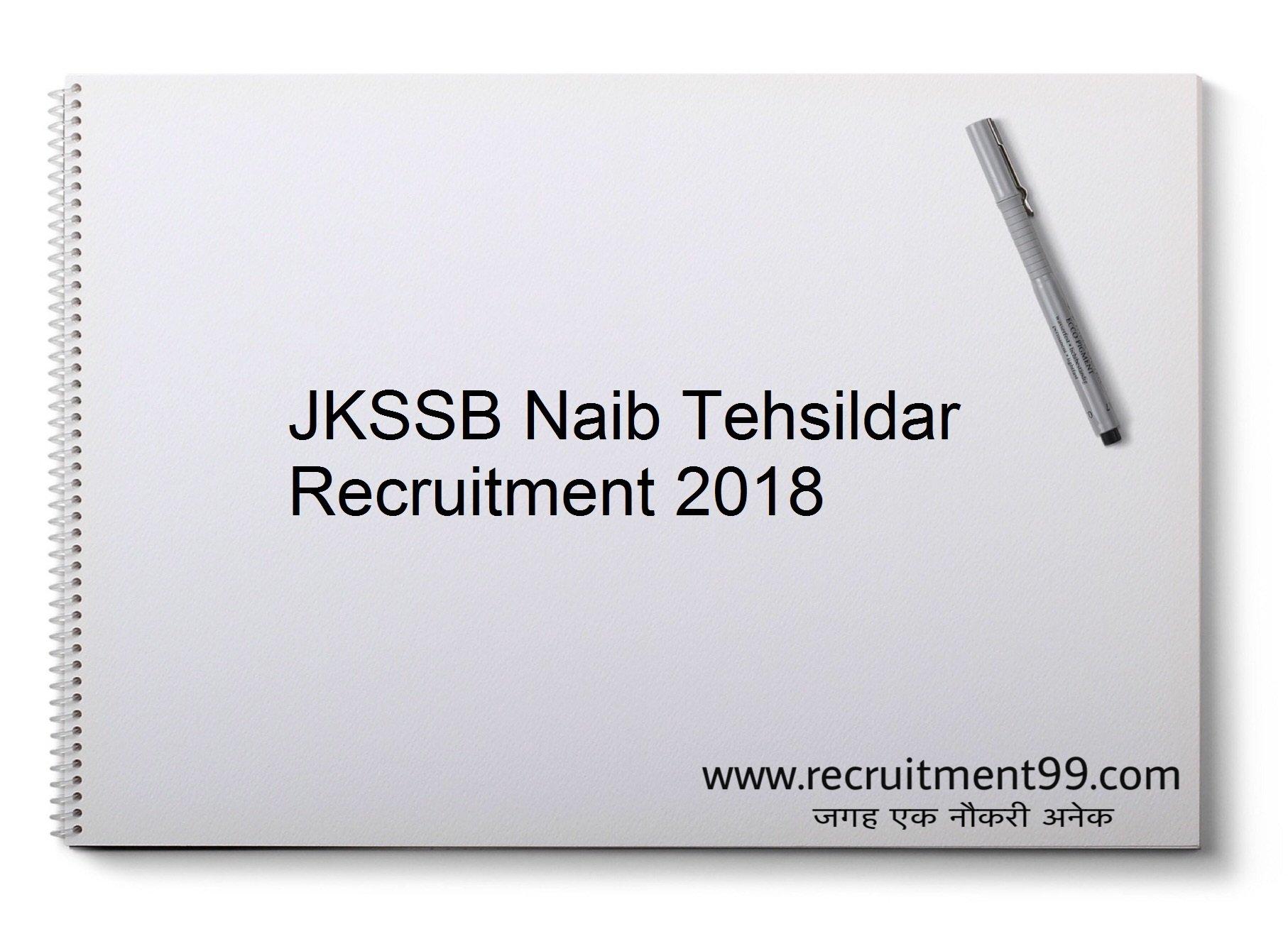 JKSSB Naib Tehsildar Recruitment, Admit Card & Result 2018