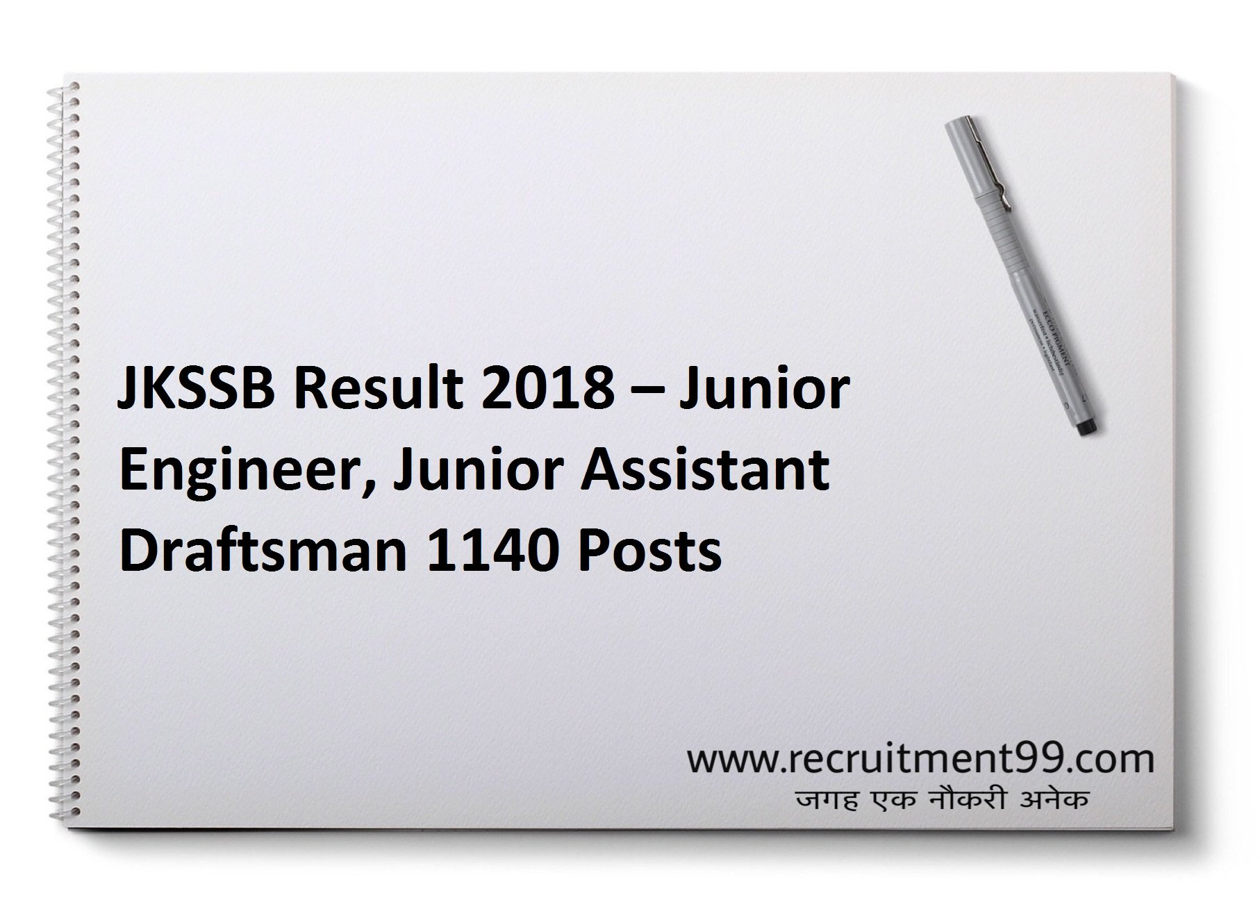 JKSSB Junior Engineer Junior Assistant Draftsman Recruitment Admit Card & Result 2018