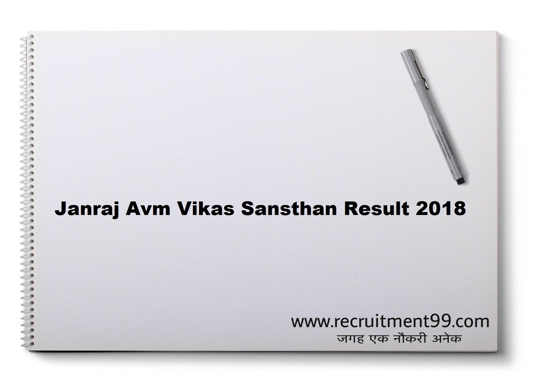 Janraj Avm Vikas Sansthan Recruitment Admit Card Result 2018