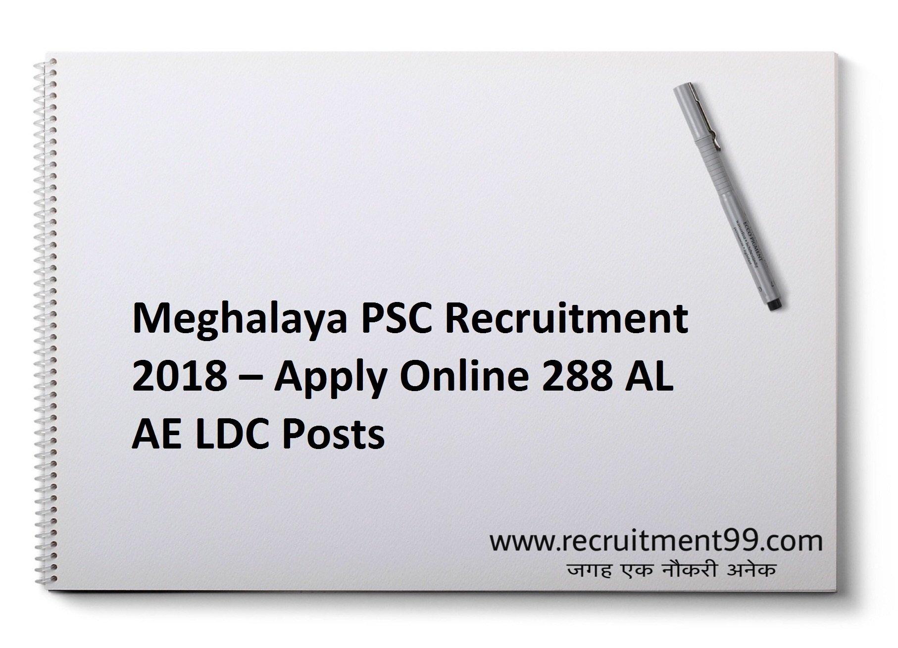 Meghalaya PSC AL AE LDC Recruitment Admit Card & Result 2018