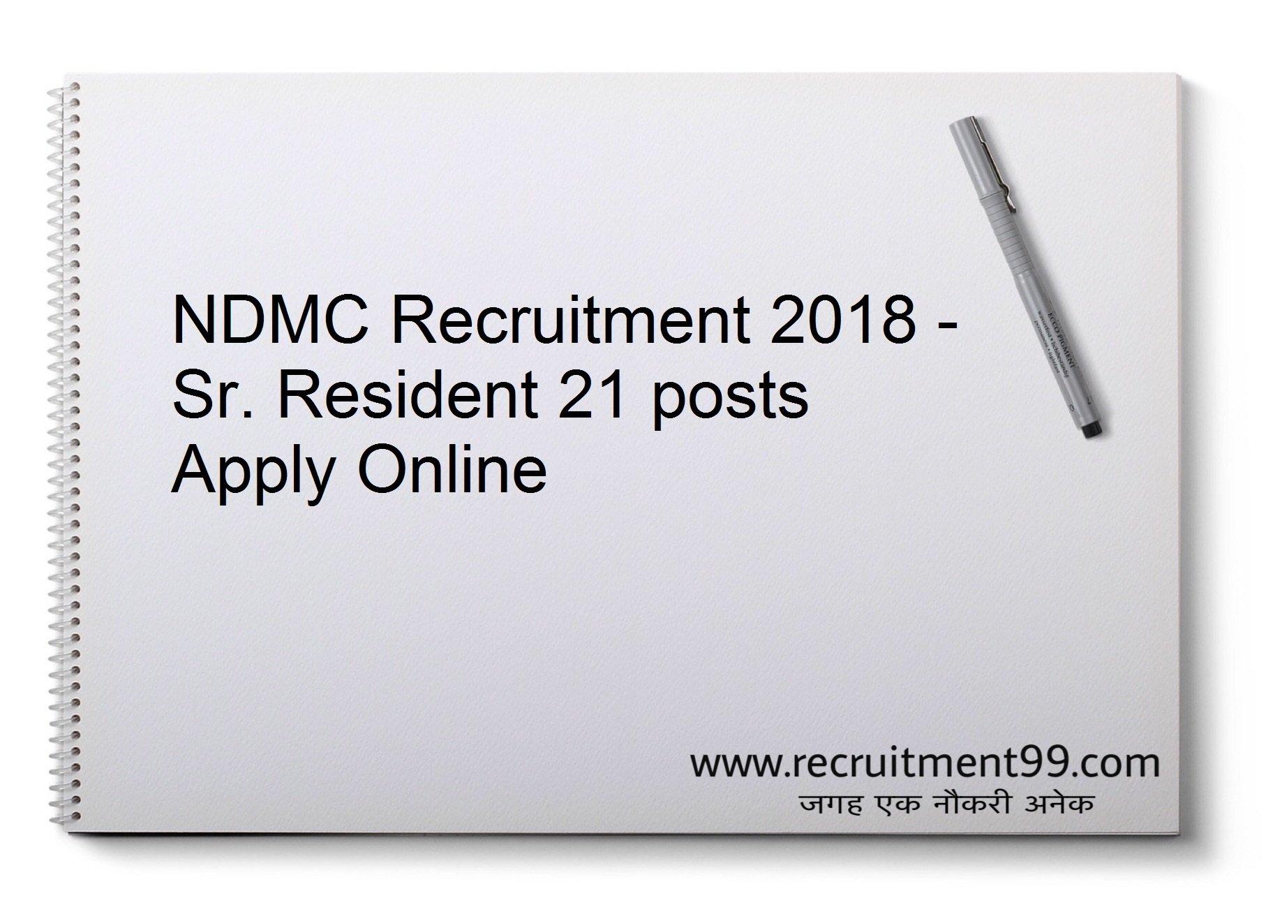 NDMC Senior Resident Recruitment Admit card Result 2018