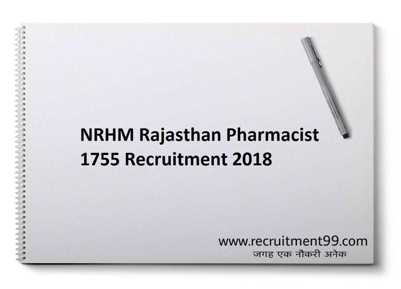 NRHM Rajasthan Pharmacist 1755 Recruitment, Admit Card & Result 2018