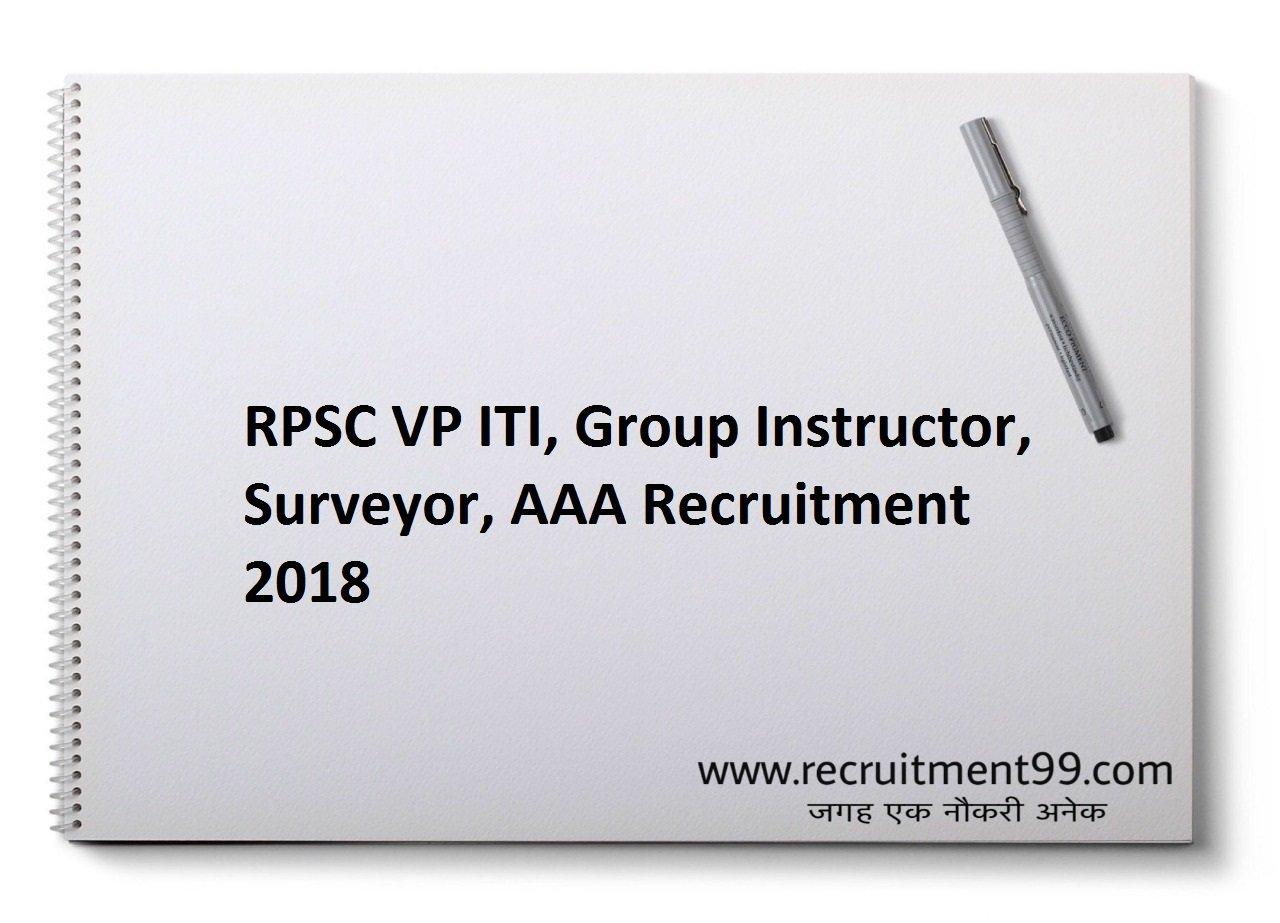 RPSC VP ITI, Group Instructor, Surveyor, Assistant Apprenticeship Advisor Recruitment, Admit Card& Result 2018