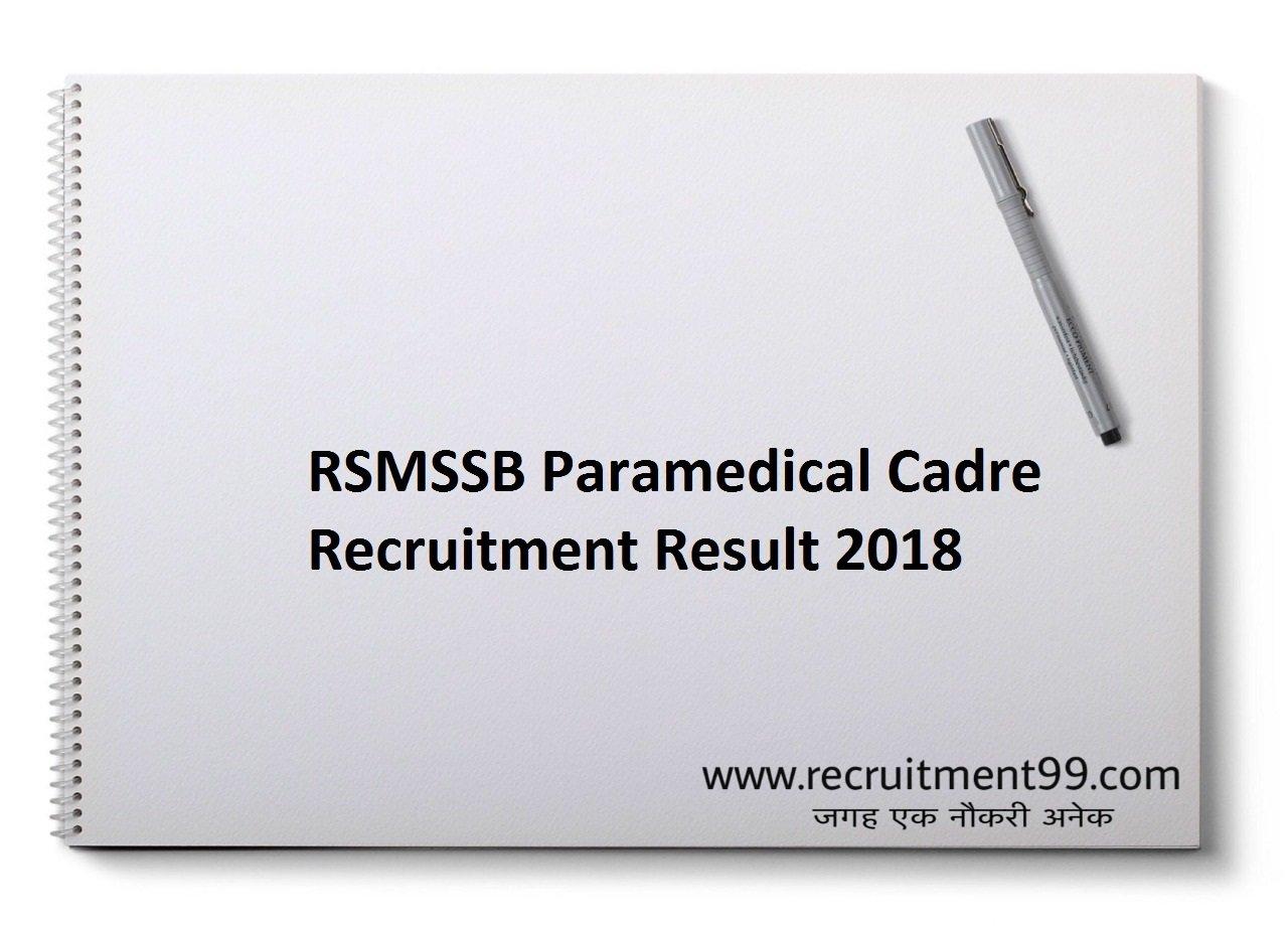 RSMSSB Paramedical Cadre Recruitment Admit Card Result 2018