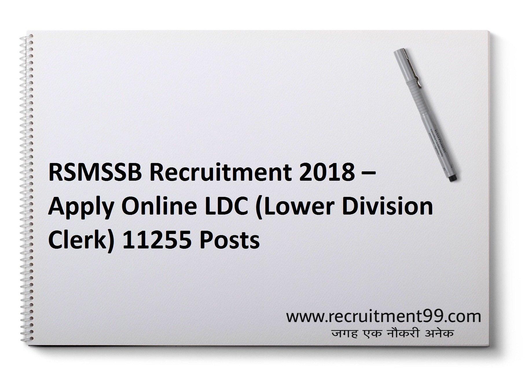 RSMSSB Junior Assistant LDC Recruitment Admit Card Result 2018