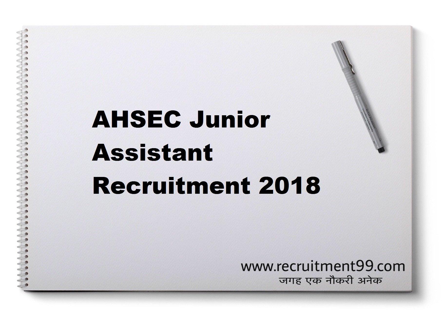 AHSEC Junior Assistant Recruitment Admit Card Result 2018