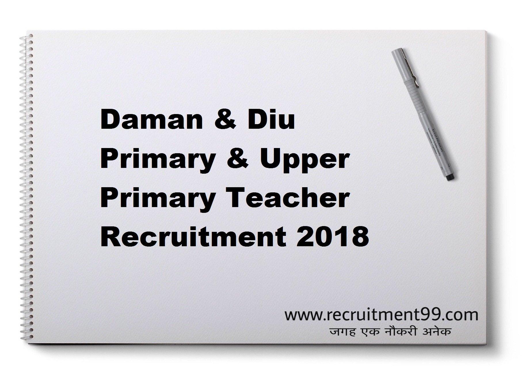 Daman & Diu Primary & Upper Primary Teacher Recruitment Admit Card Result 2018