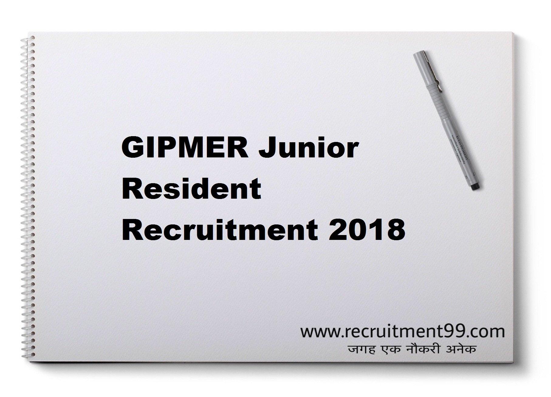 GIPMER Junior Resident Recruitment Admit Card Result 2018