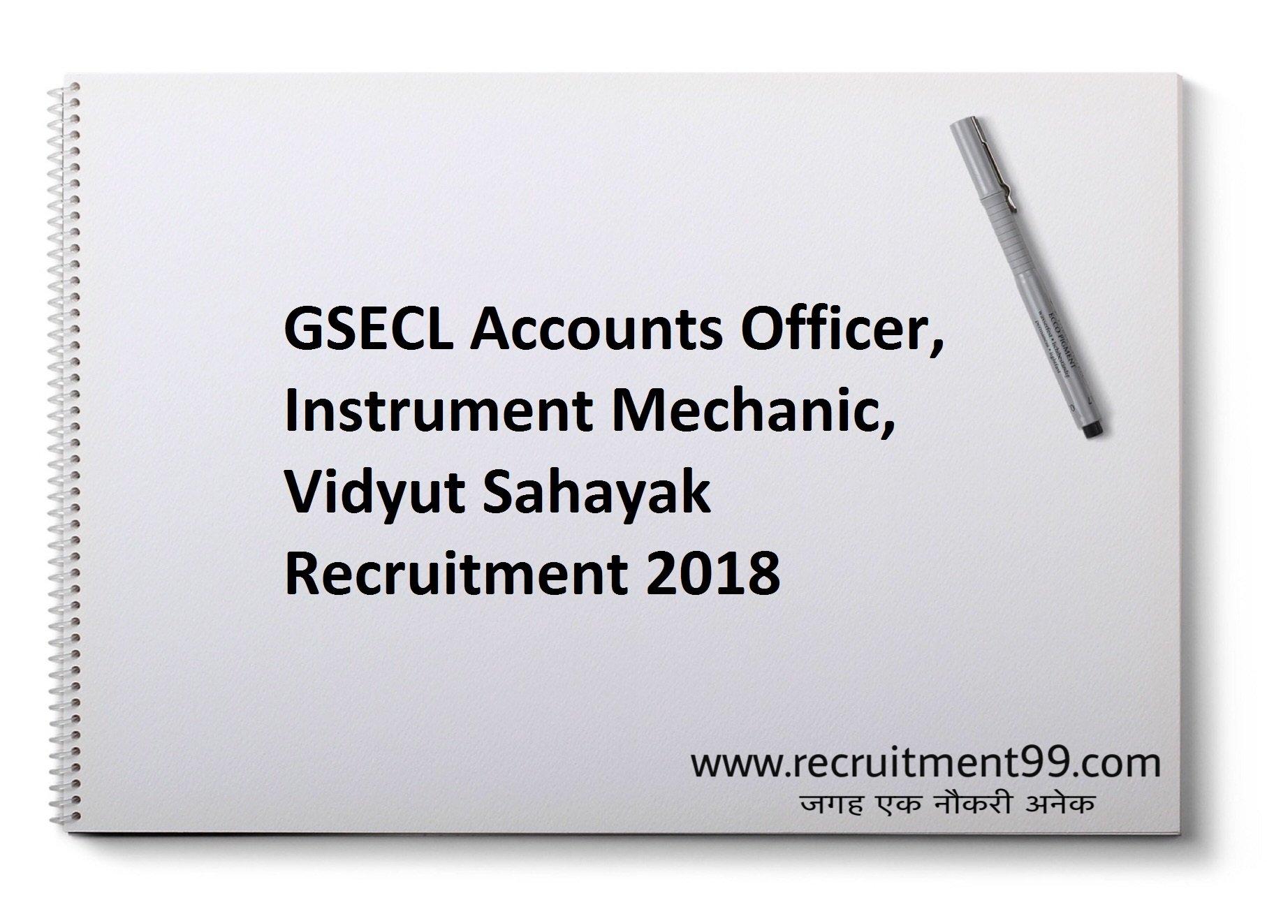 GSECL Accounts Officer Instrument Mechanic Vidyut Sahayak Recruitment Admit Card Result 2018