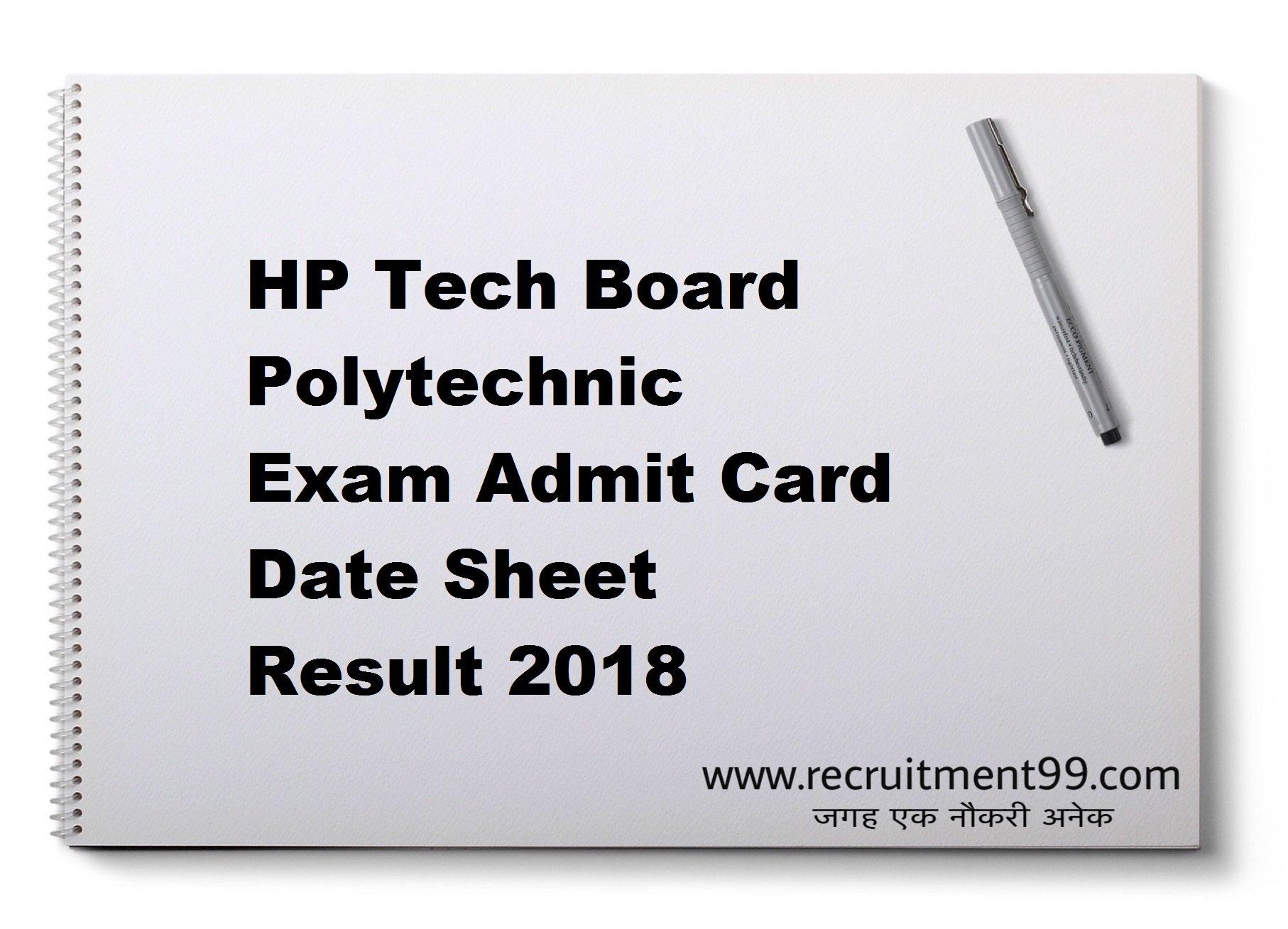 HP Tech Board Polytechnic Exam Admit Card Date Sheet Result 2018