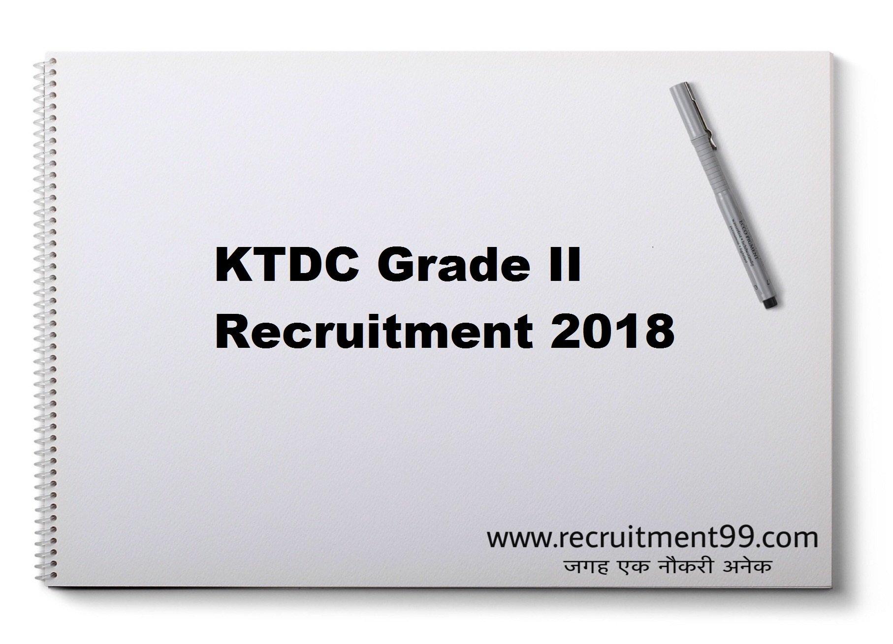 KTDC Various Grade II Recruitment Admit Card & Result 2018