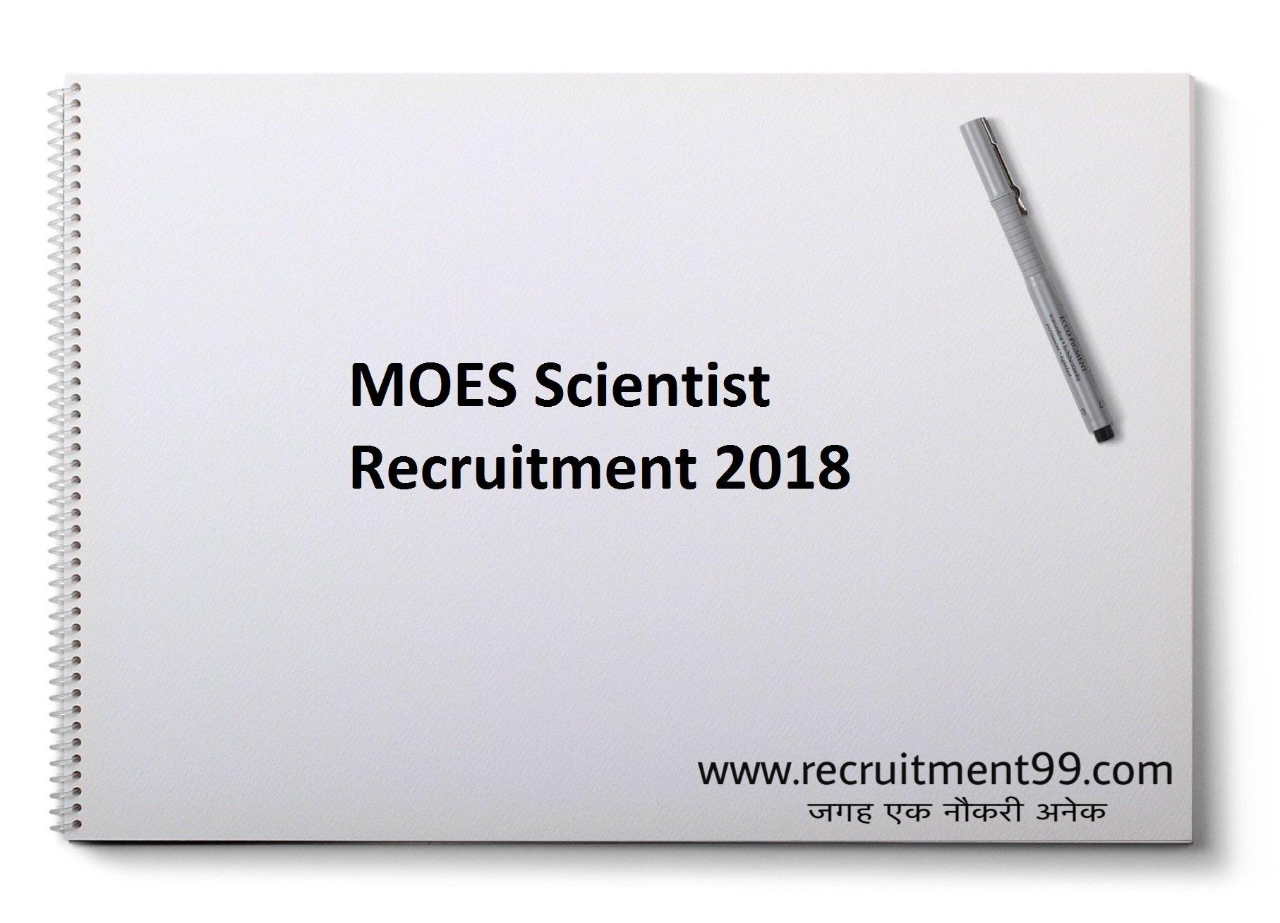 MOES Scientist Recruitment Admit Card Result 2018