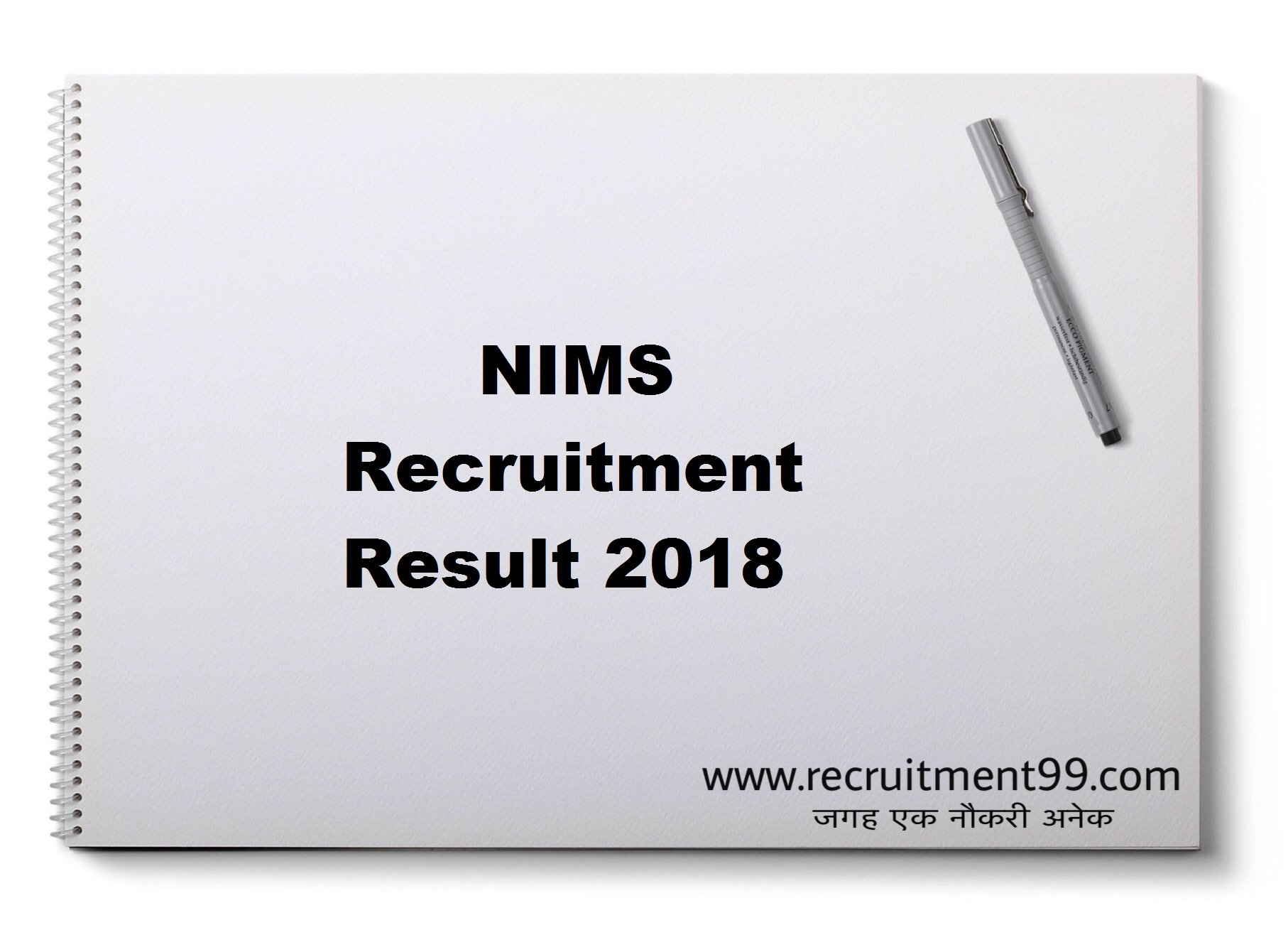 NIMS Staff Nurse Lab Technician Professor Sr Residence Recruitment Hall Ticket Result 2018