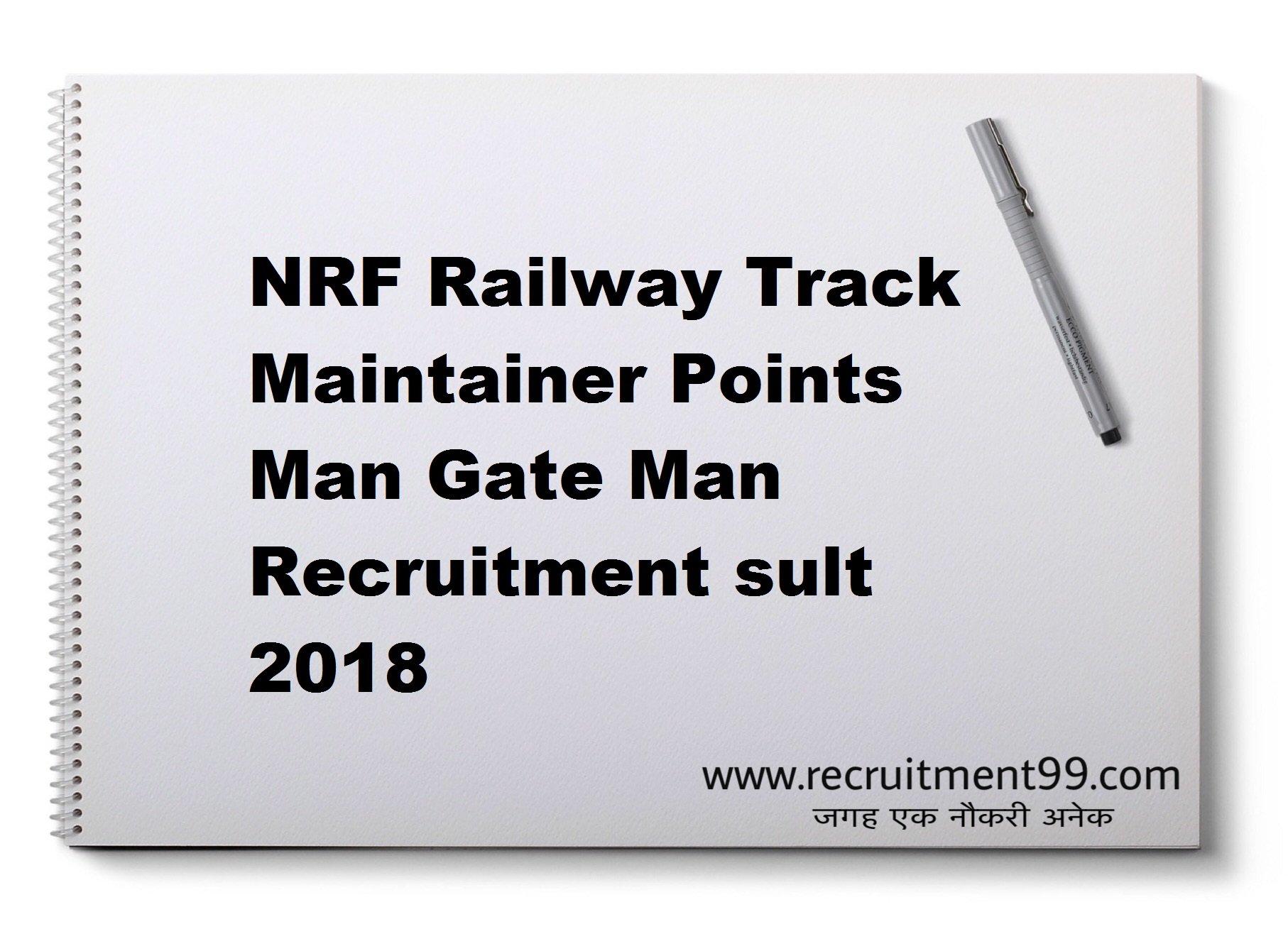 NRF Railway Track Maintainer Points Man Gate Man Recruitment Admit Card Result 2018