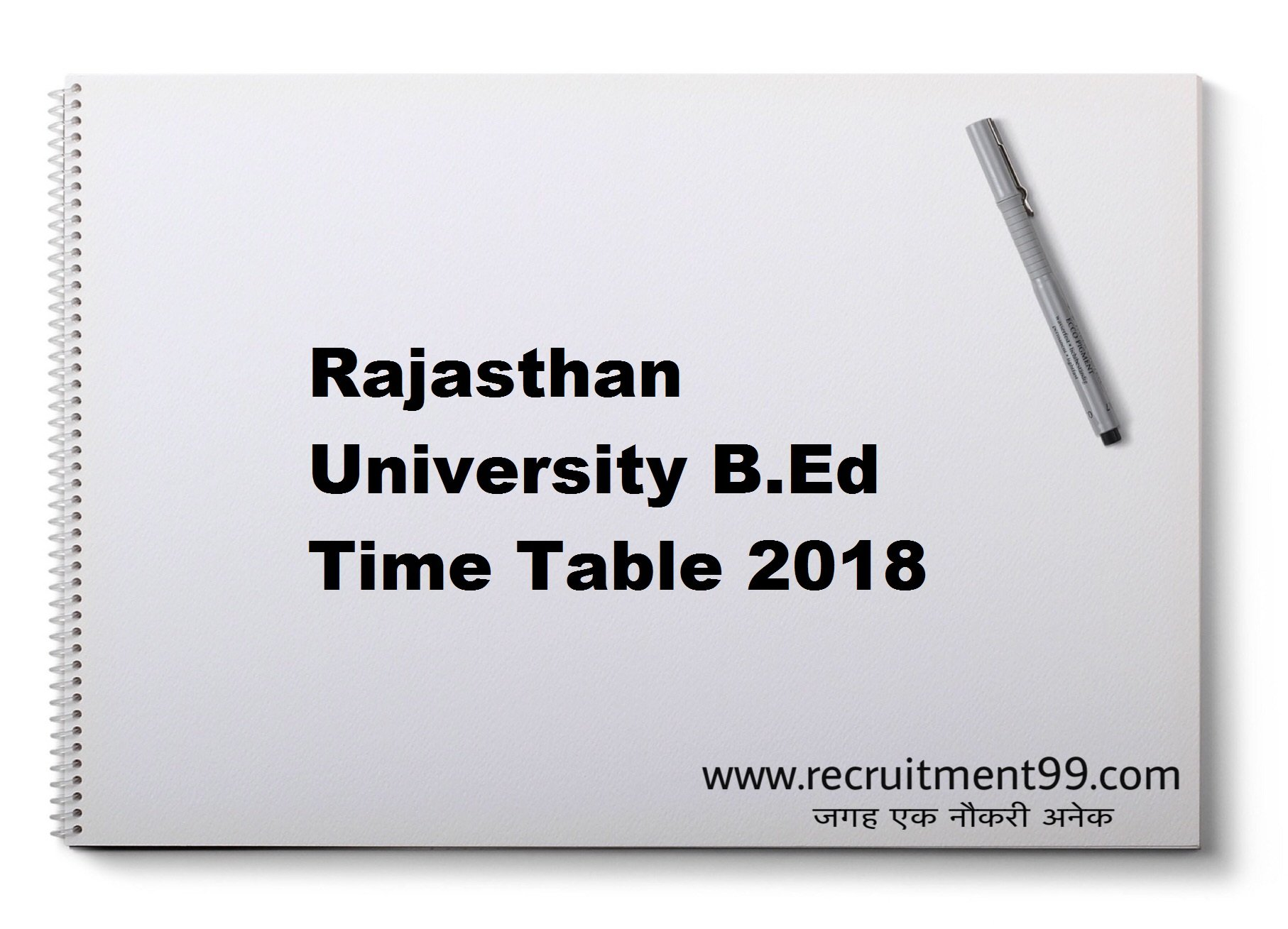 Rajasthan University BED Admit Card Time Table Result 2018