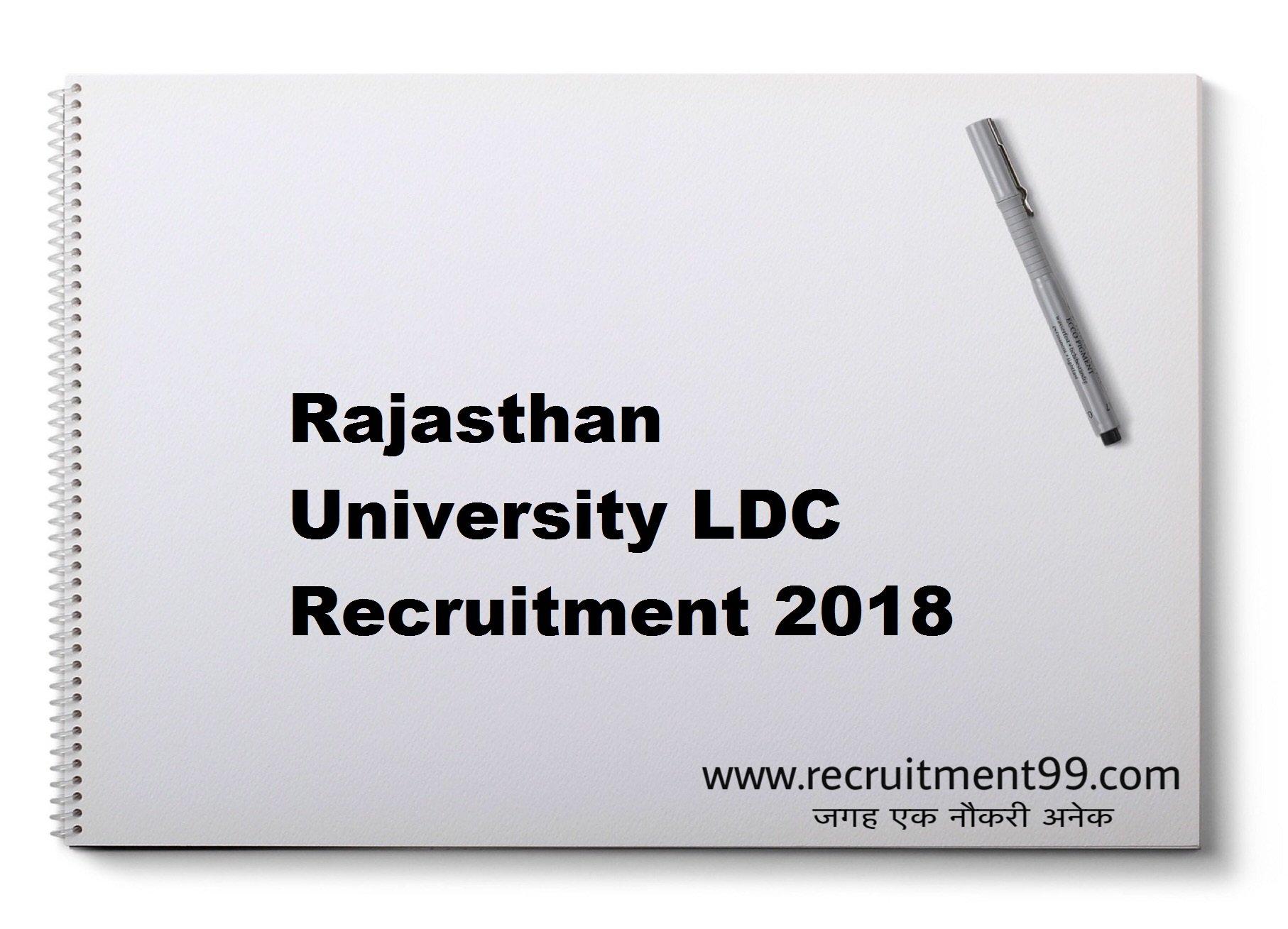 Rajasthan University LDC Recruitment Answer Key Result 2018