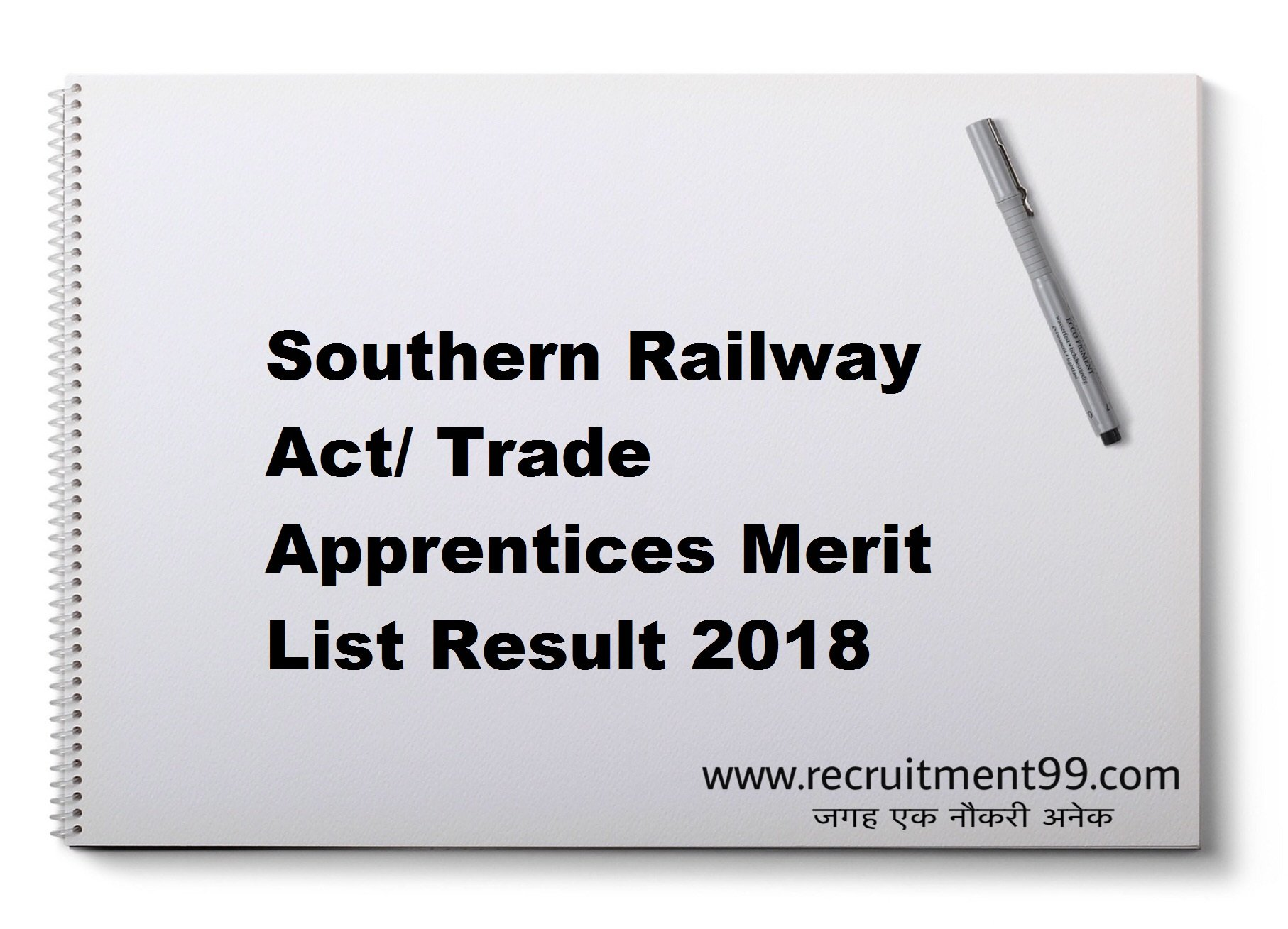 Southern Railway Act/ Trade Apprentices Merit List Result 2018