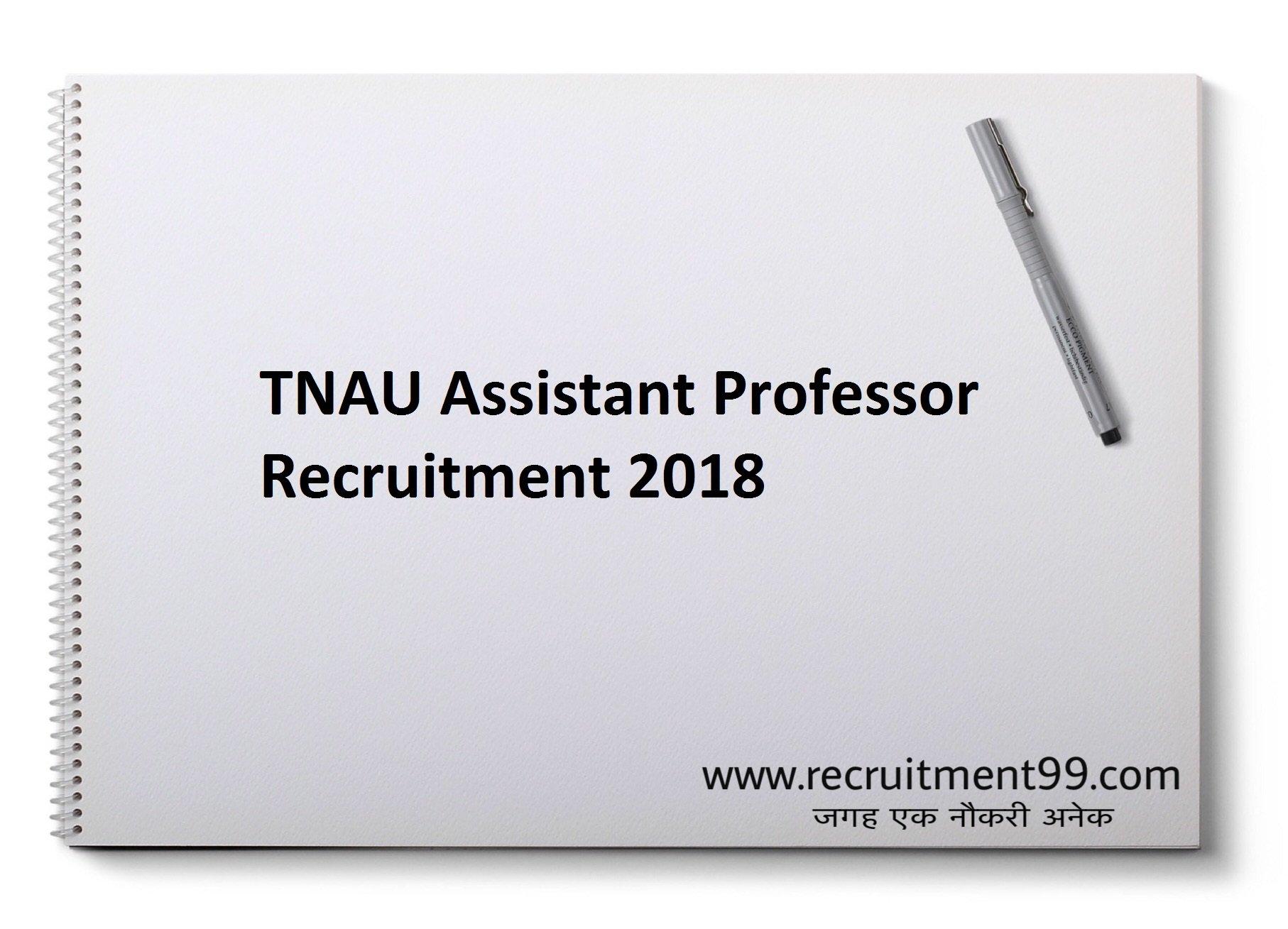 TNAU Assistant Professor Recruitment Hall Ticket Result 2018