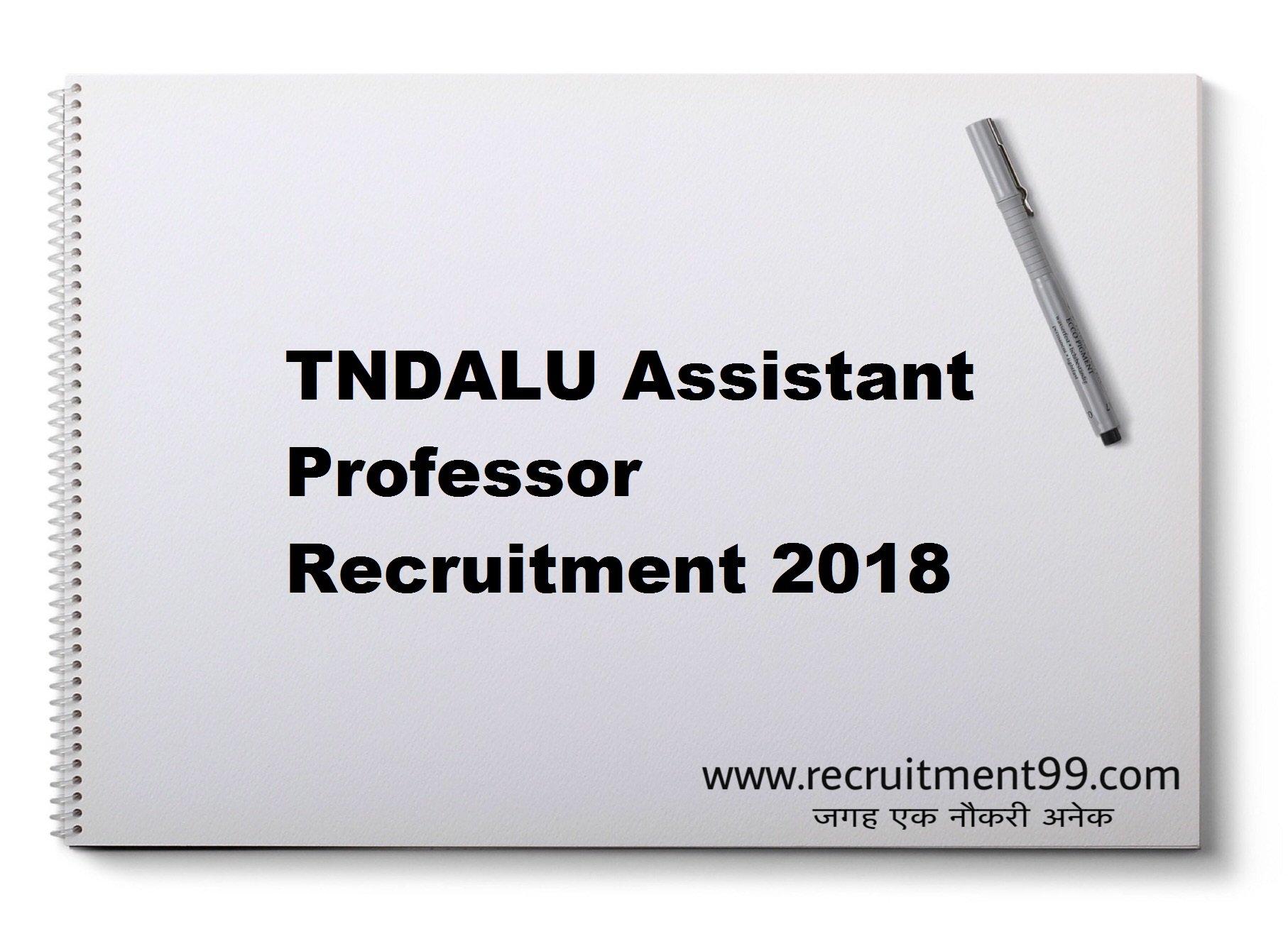 TNDALU Assistant Professor Recruitment Admit Card Result 2018