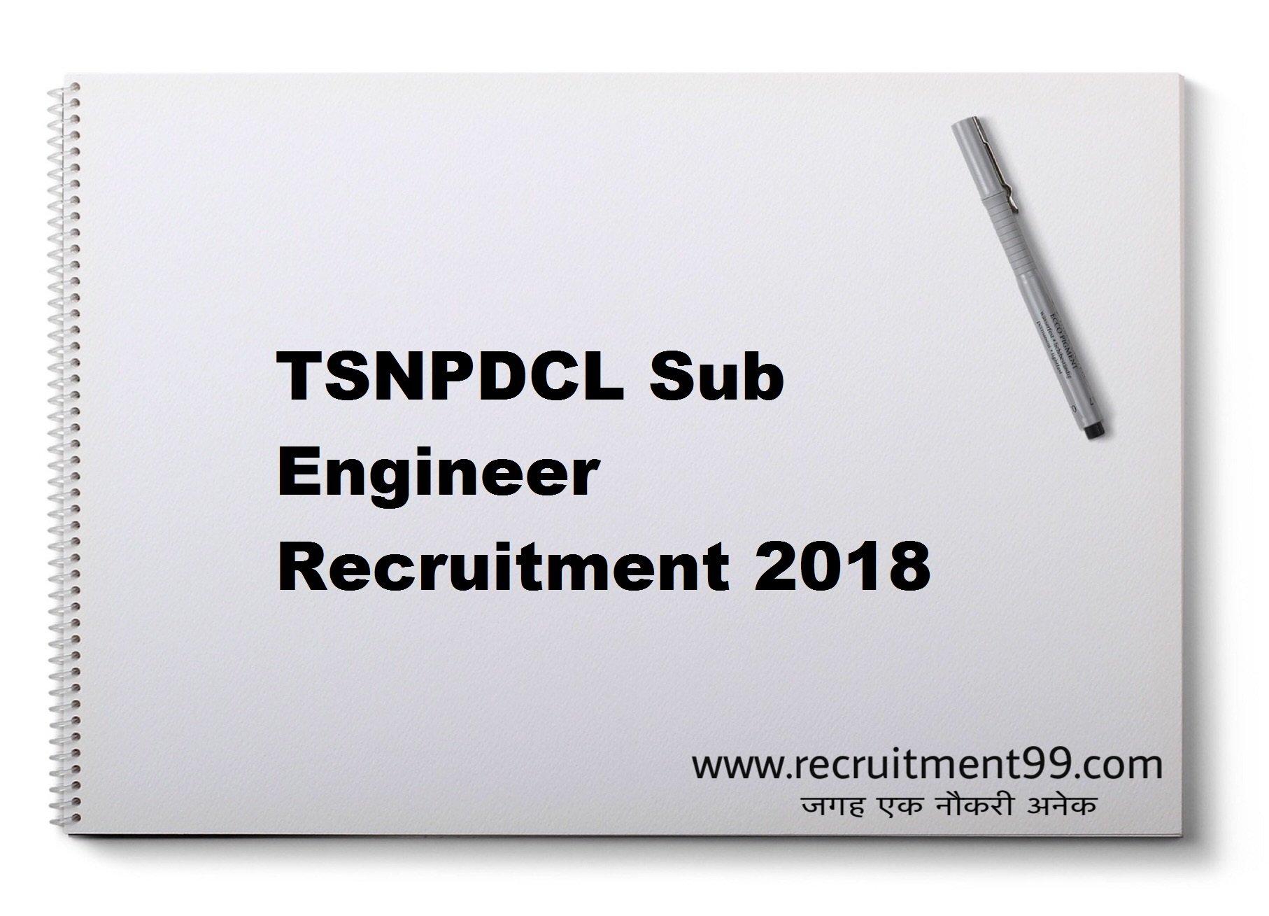 TSNPDCL Sub Engineer Recruitment Hall Ticket Result 2018