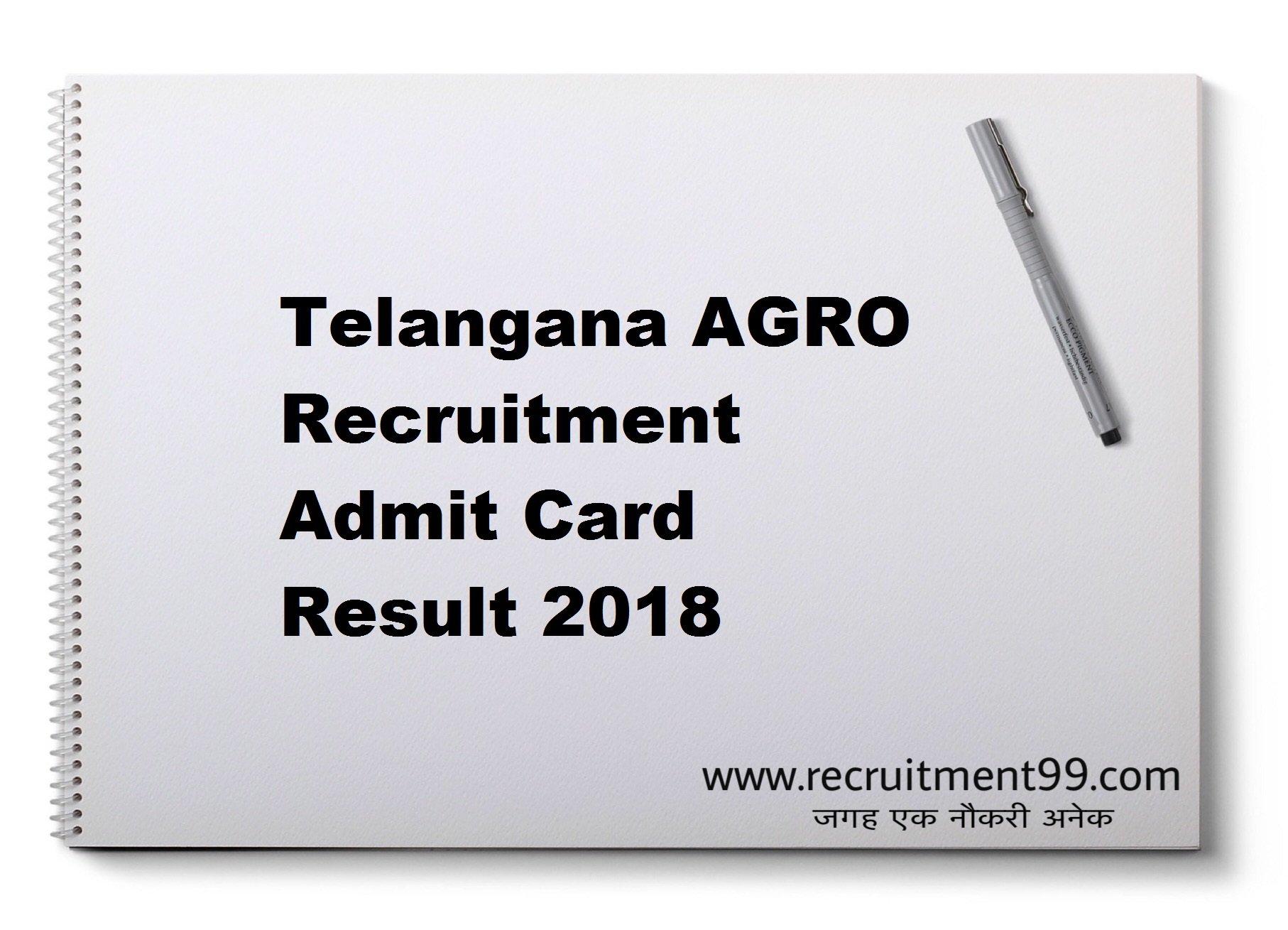 Telangana AGRO Recruitment Admit Card Result 2018