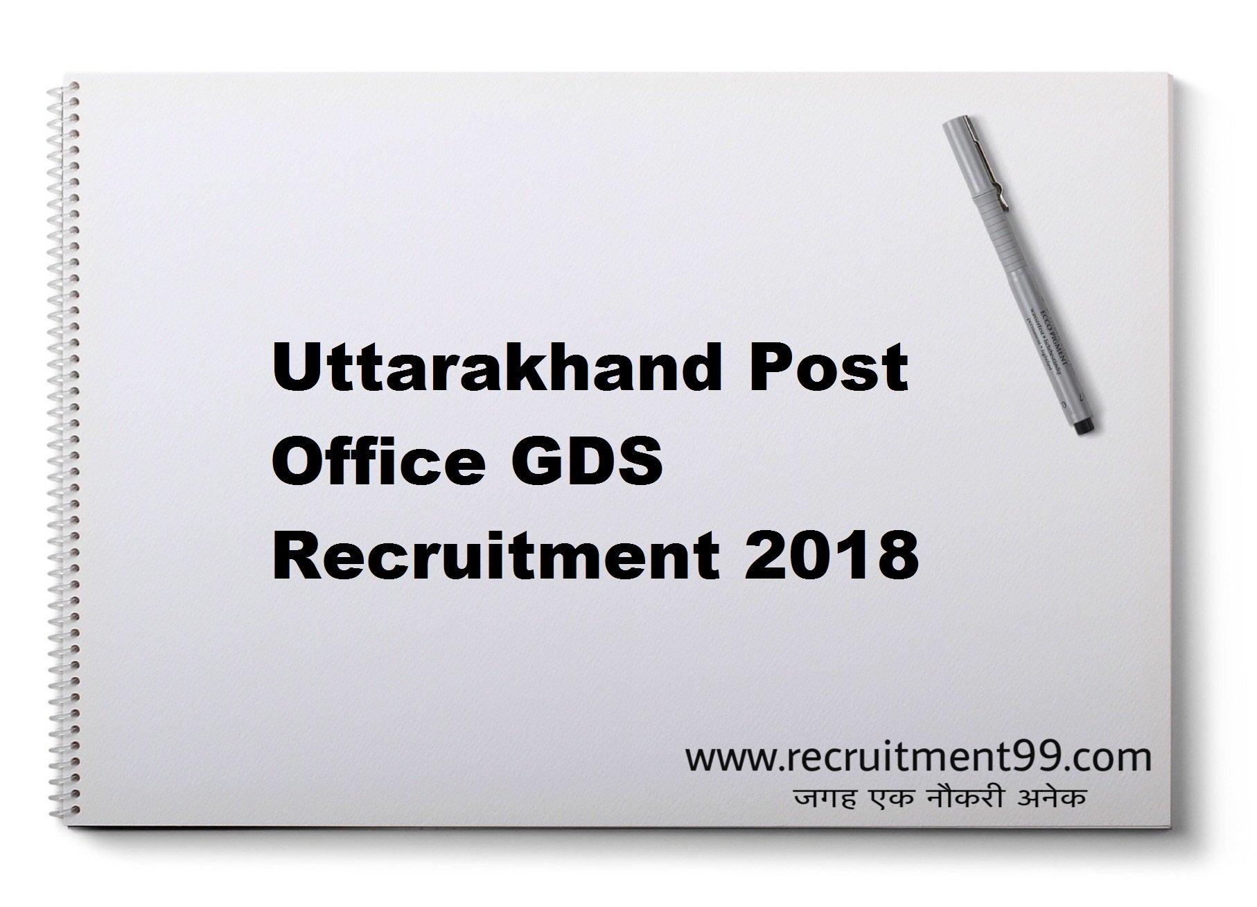 Uttarakhand Post Office GDS Recruitment Merit List Result 2018