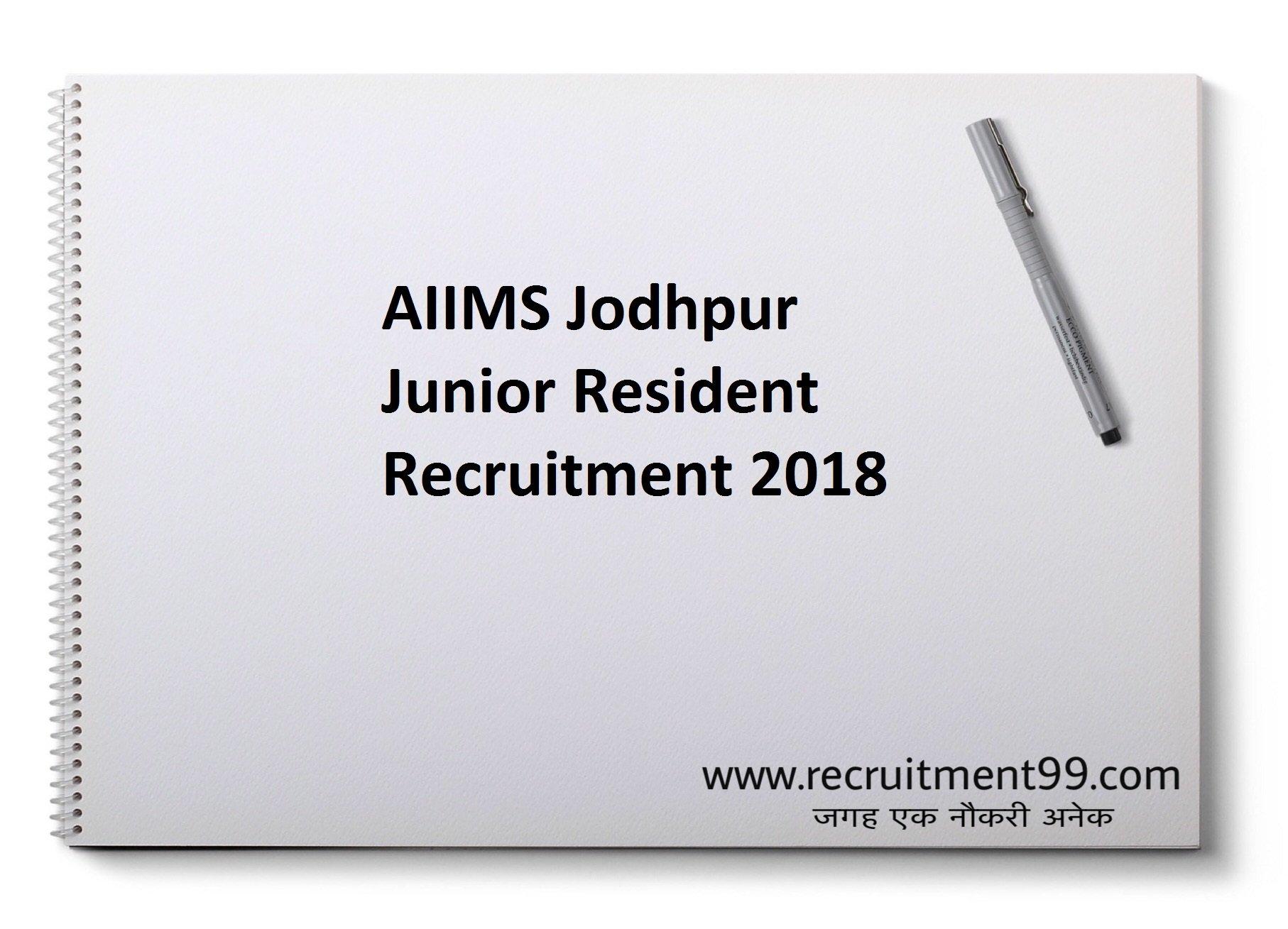 AIIMS Jodhpur Junior Resident Recruitment Admit Card Result 2018