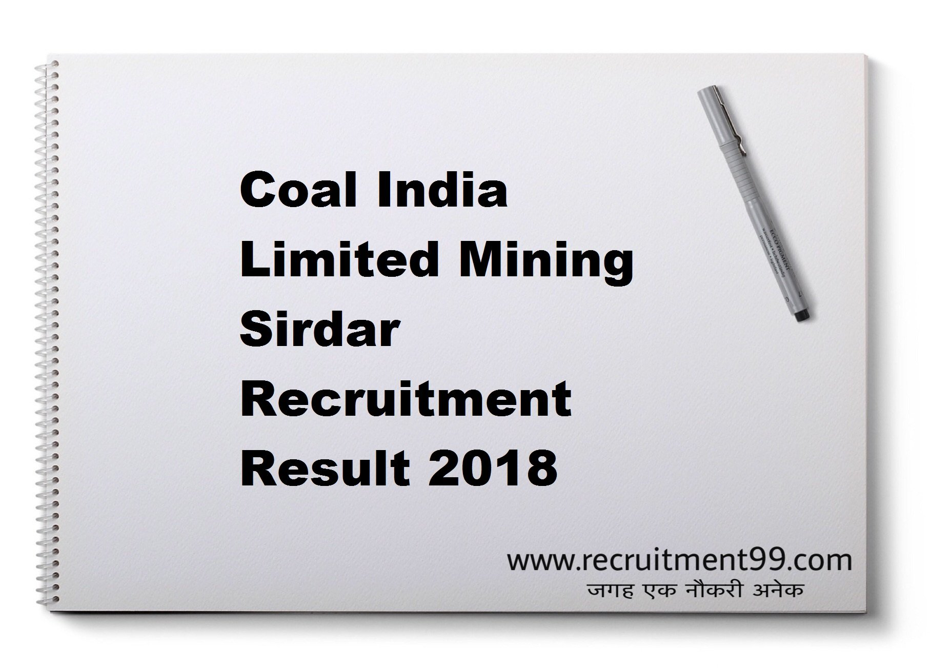 Coal India Limited Mining Sirdar Recruitment Admit Card Result 2018