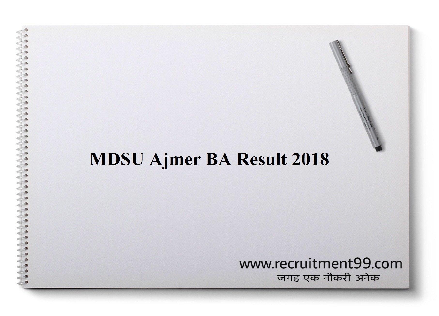MDSU Ajmer BA Result 2018