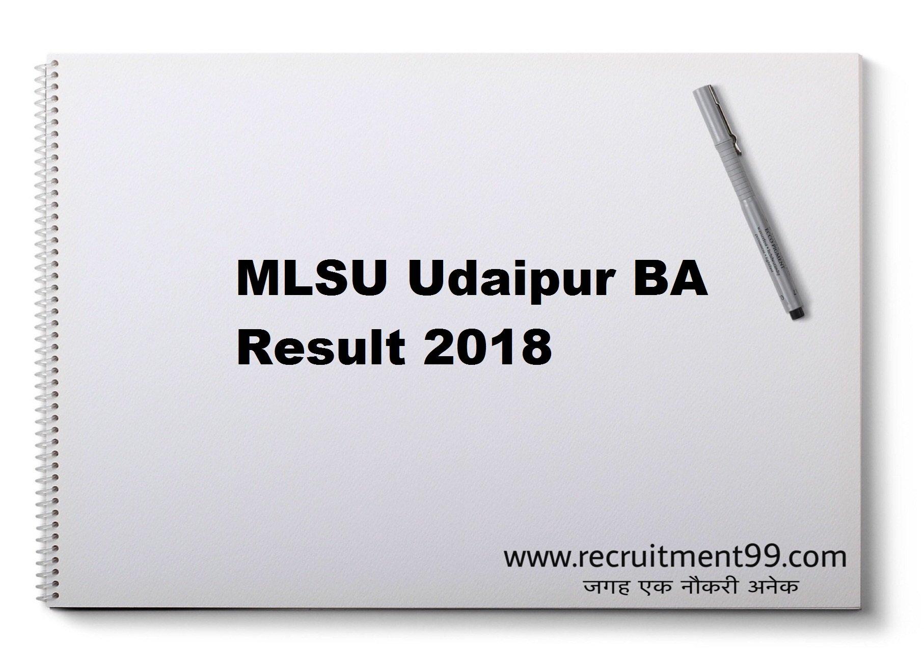 MLSU Udaipur BA  1st 2nd 3rd Year Result 2018