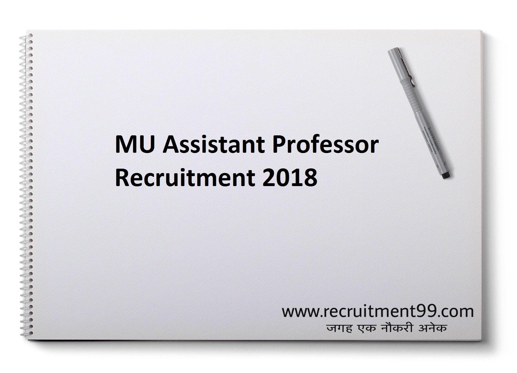 MU Assistant Professor Recruitment Admit Card Result 2018
