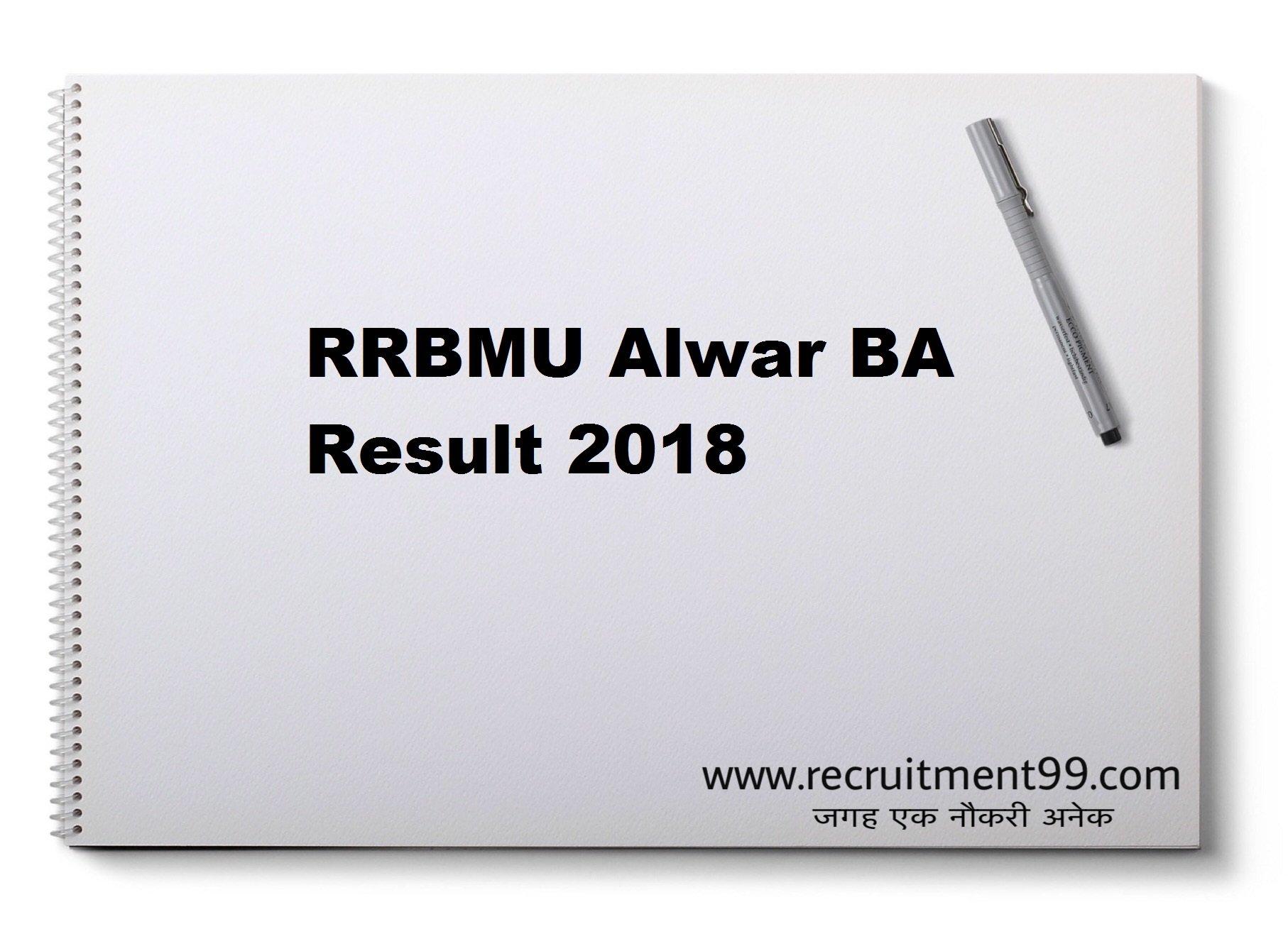 RRBMU Alwar BA 1st 2nd 3rd Year Result 2018