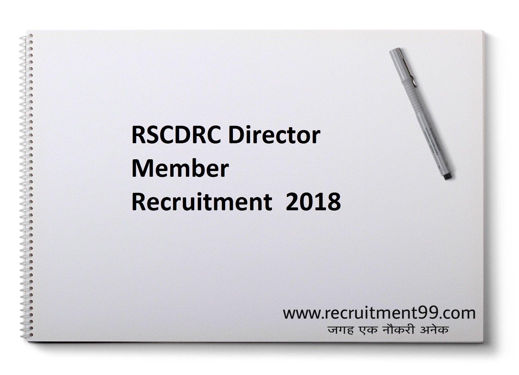 RSCDRC Director Member Recruitment Admit Card Result 2018
