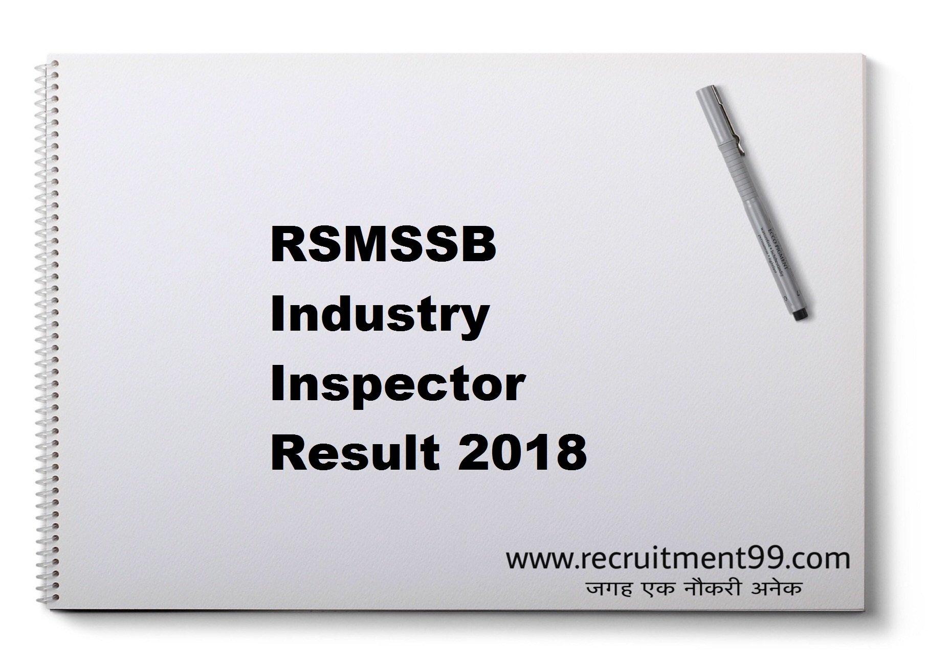 RSMSSB Industry Inspector Result 2018