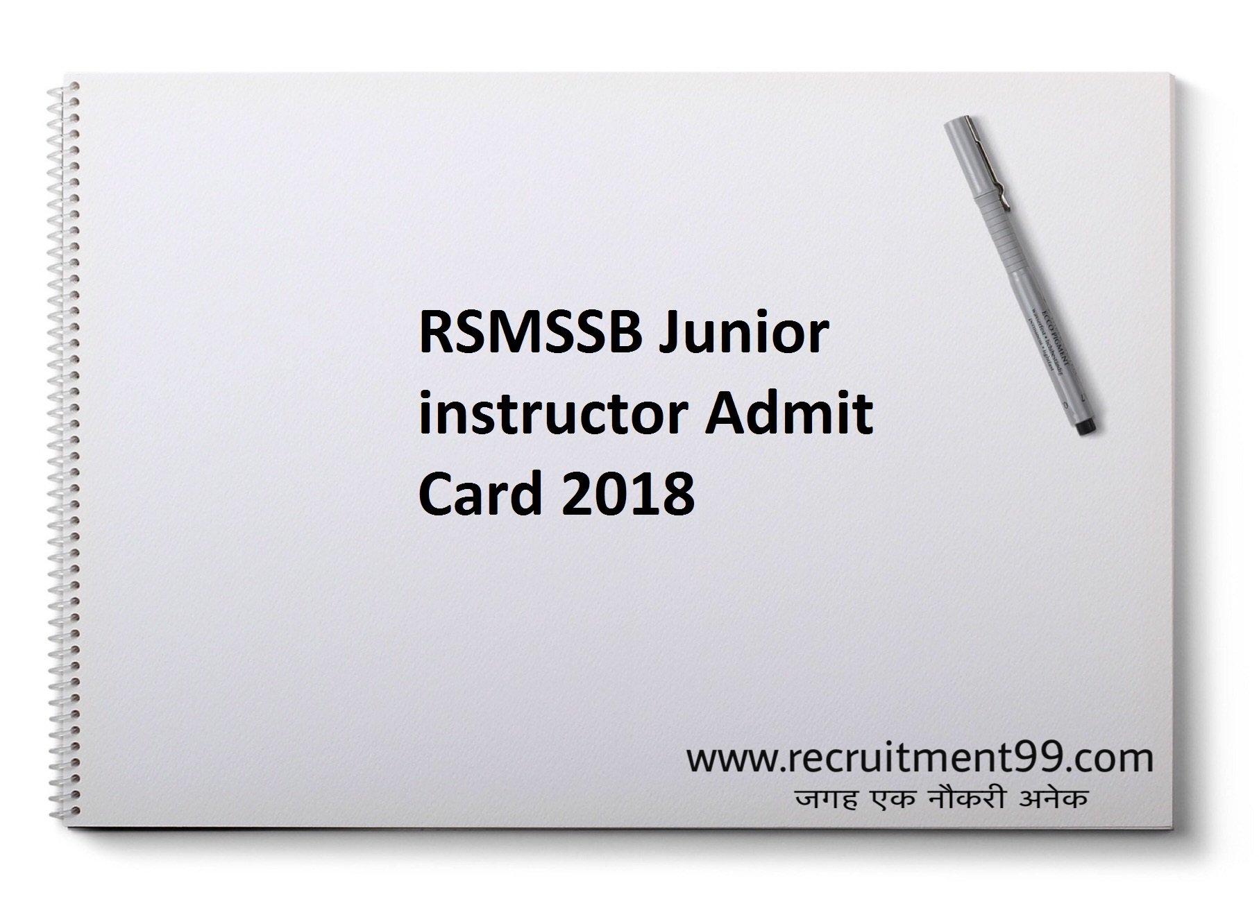 RSMSSB Junior instructor Call Letter 2018