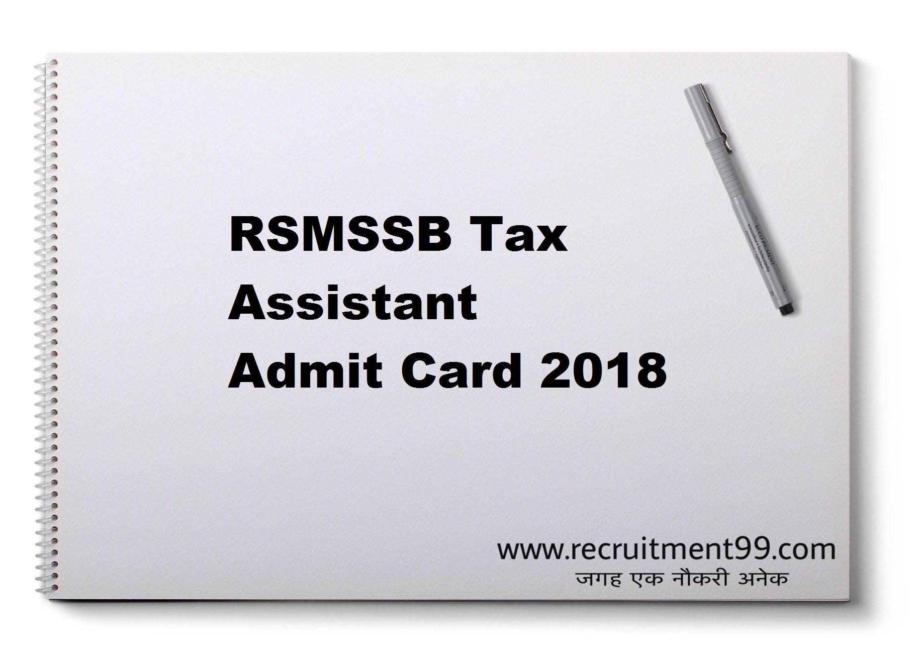 RSMSSB Tax Assistant Admit Card 2018