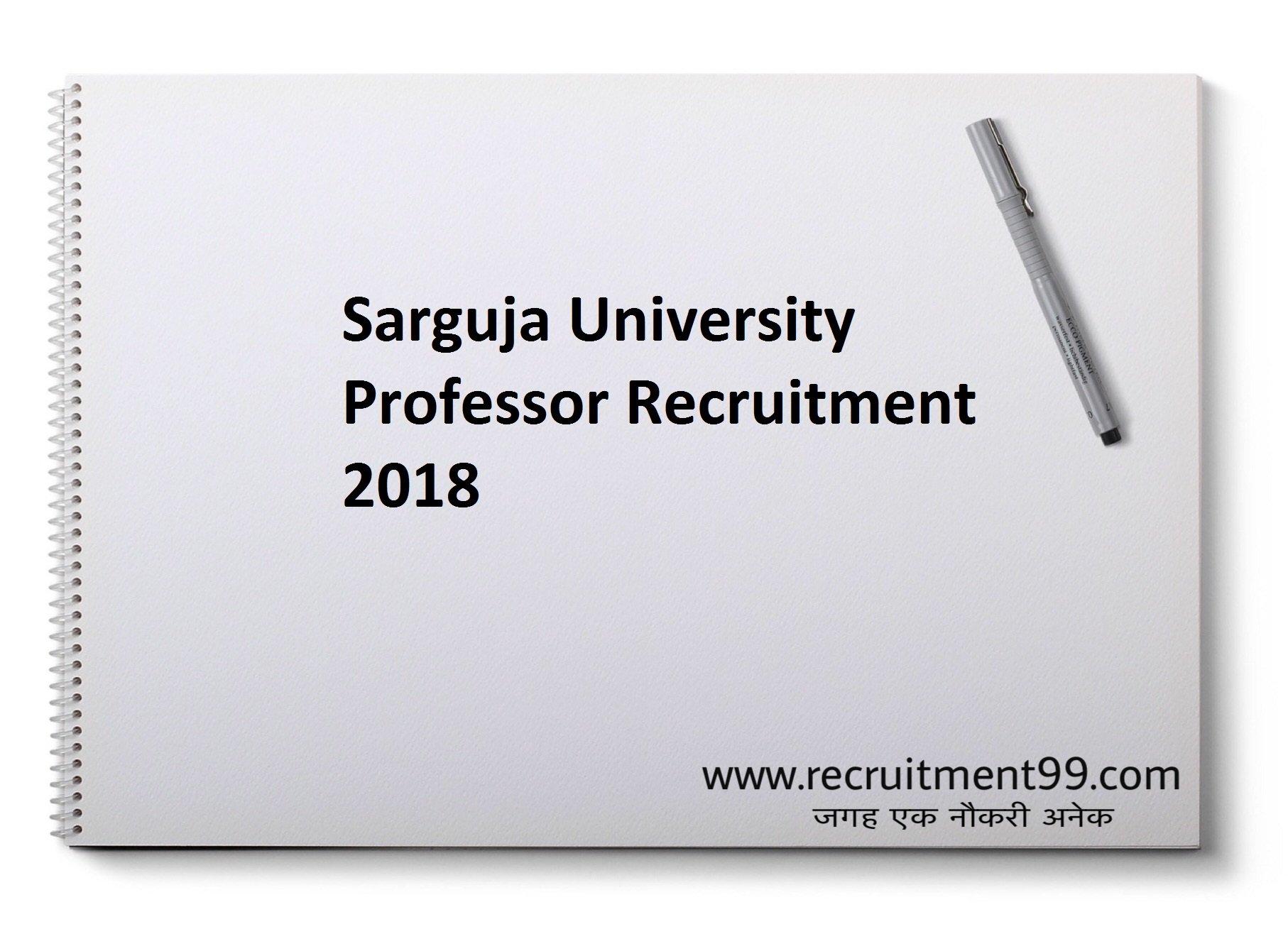 Sarguja University Professor Recruitment Admit Card Result 2018